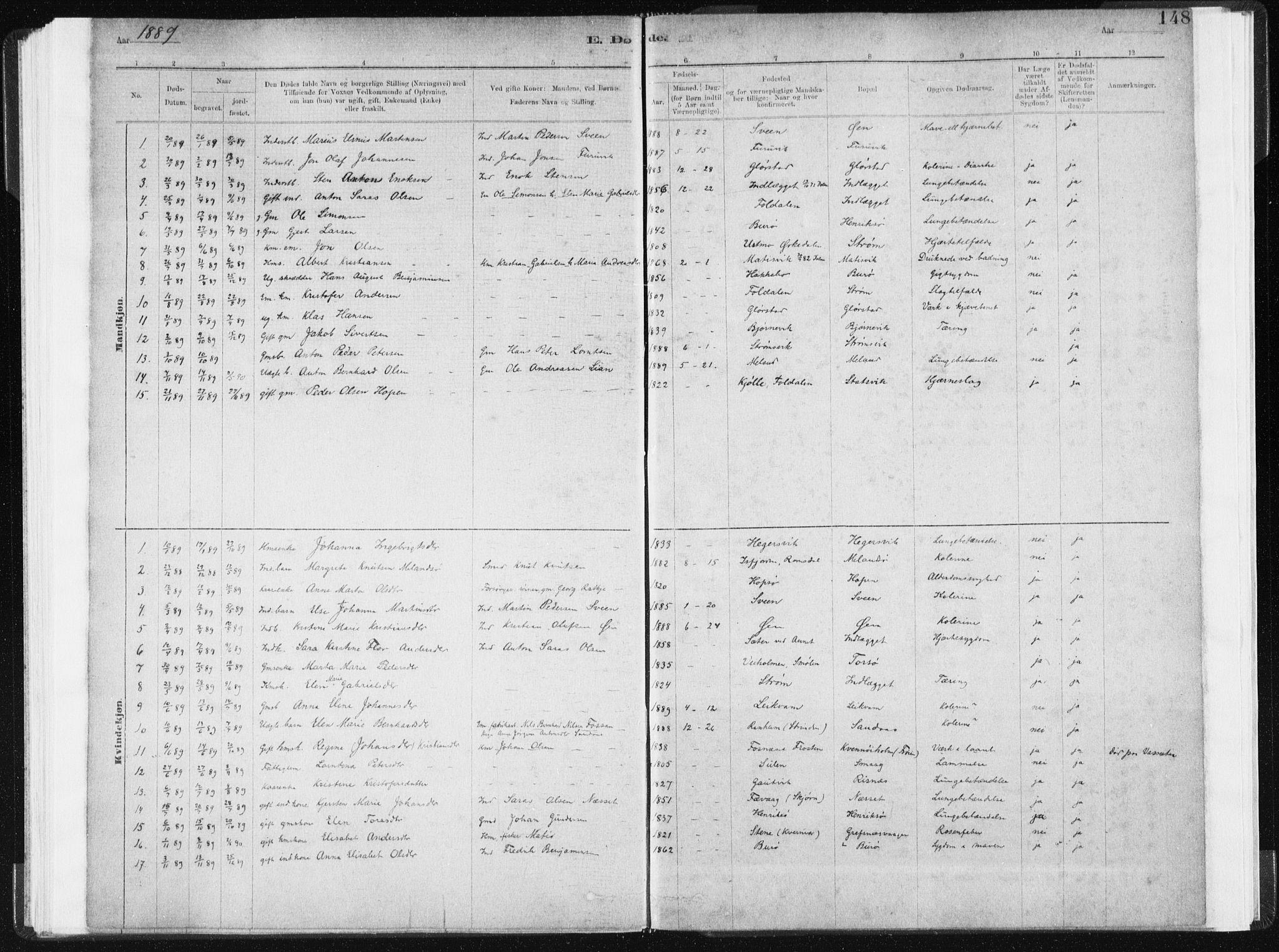 SAT, Ministerialprotokoller, klokkerbøker og fødselsregistre - Sør-Trøndelag, 634/L0533: Ministerialbok nr. 634A09, 1882-1901, s. 148