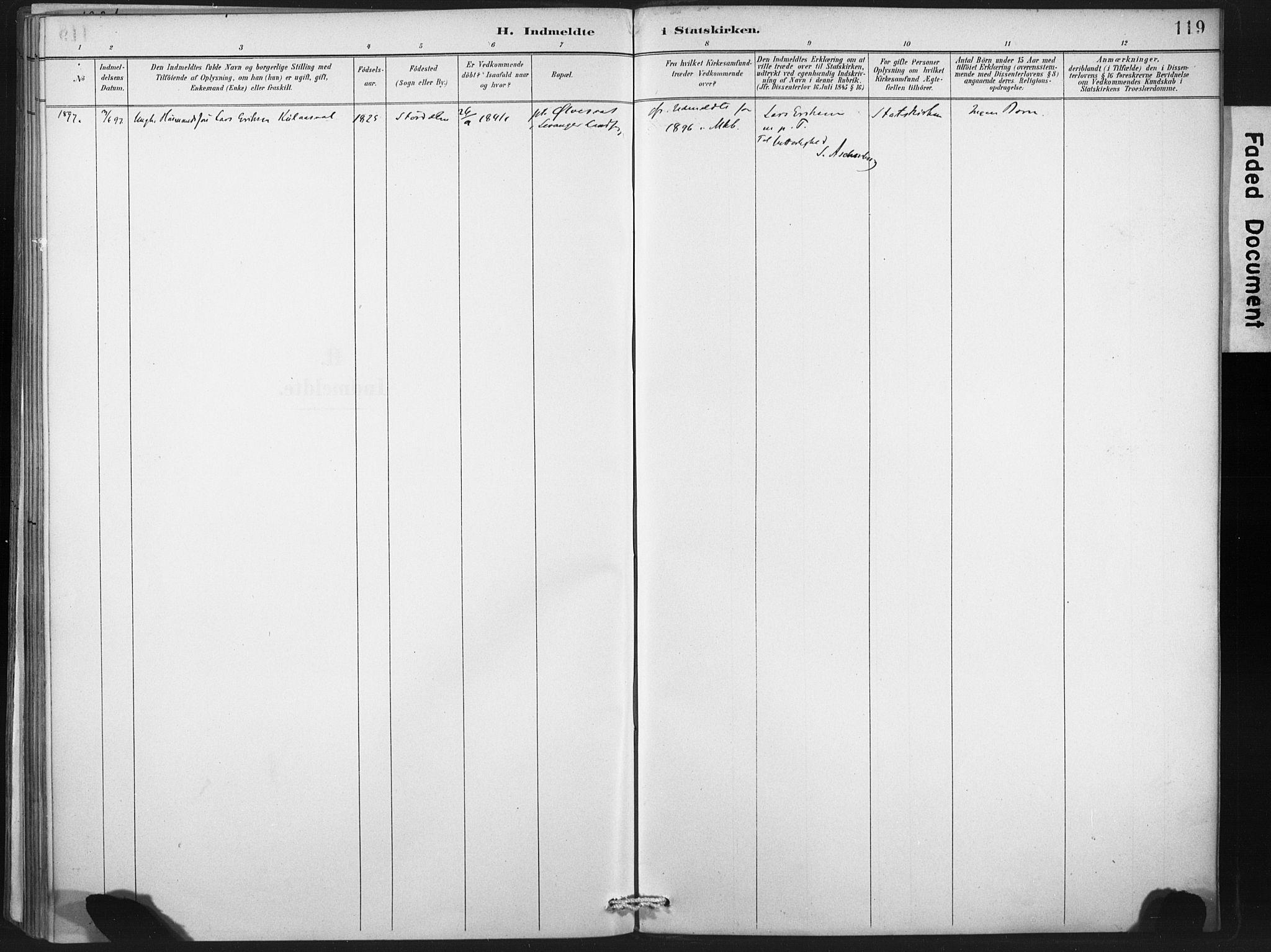 SAT, Ministerialprotokoller, klokkerbøker og fødselsregistre - Nord-Trøndelag, 718/L0175: Ministerialbok nr. 718A01, 1890-1923, s. 119