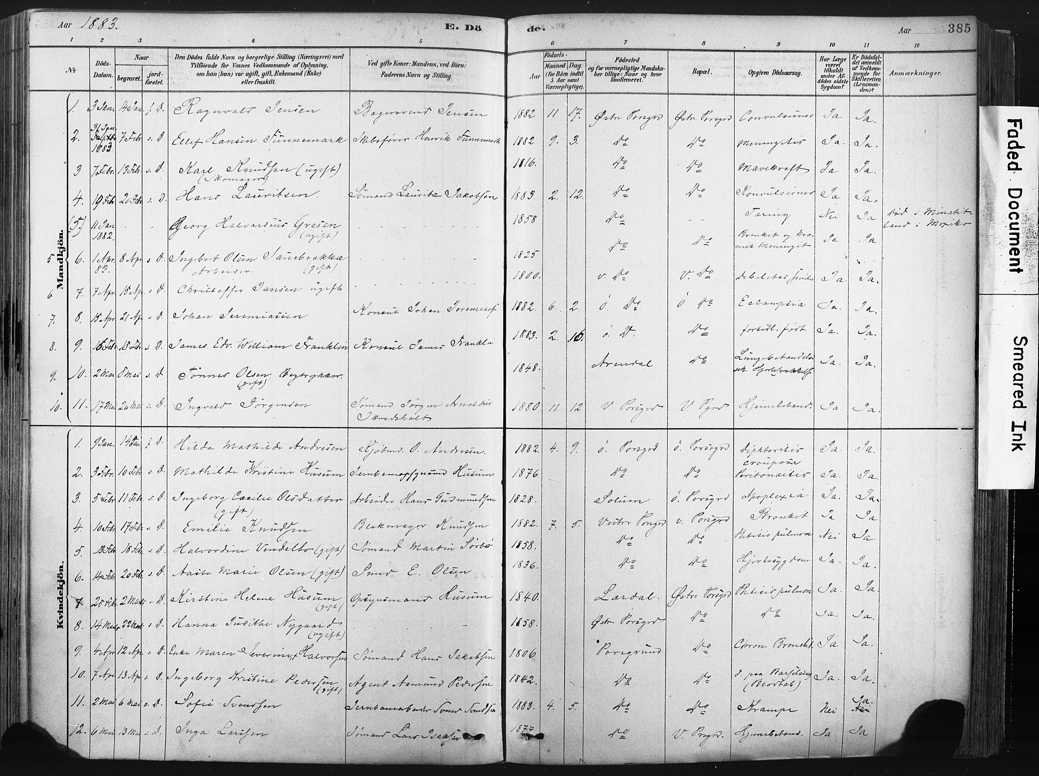 SAKO, Porsgrunn kirkebøker , F/Fa/L0008: Ministerialbok nr. 8, 1878-1895, s. 385