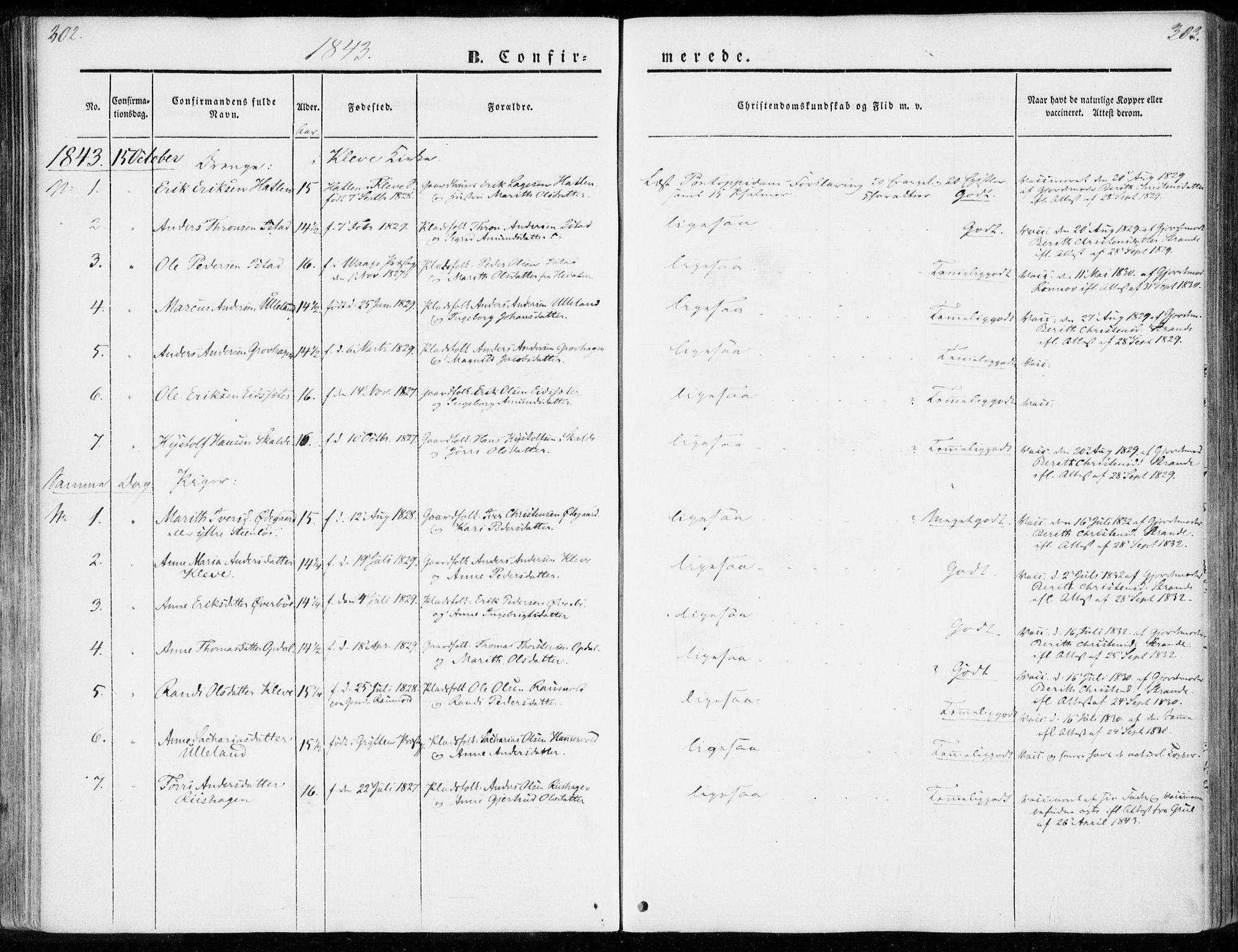 SAT, Ministerialprotokoller, klokkerbøker og fødselsregistre - Møre og Romsdal, 557/L0680: Ministerialbok nr. 557A02, 1843-1869, s. 302-303