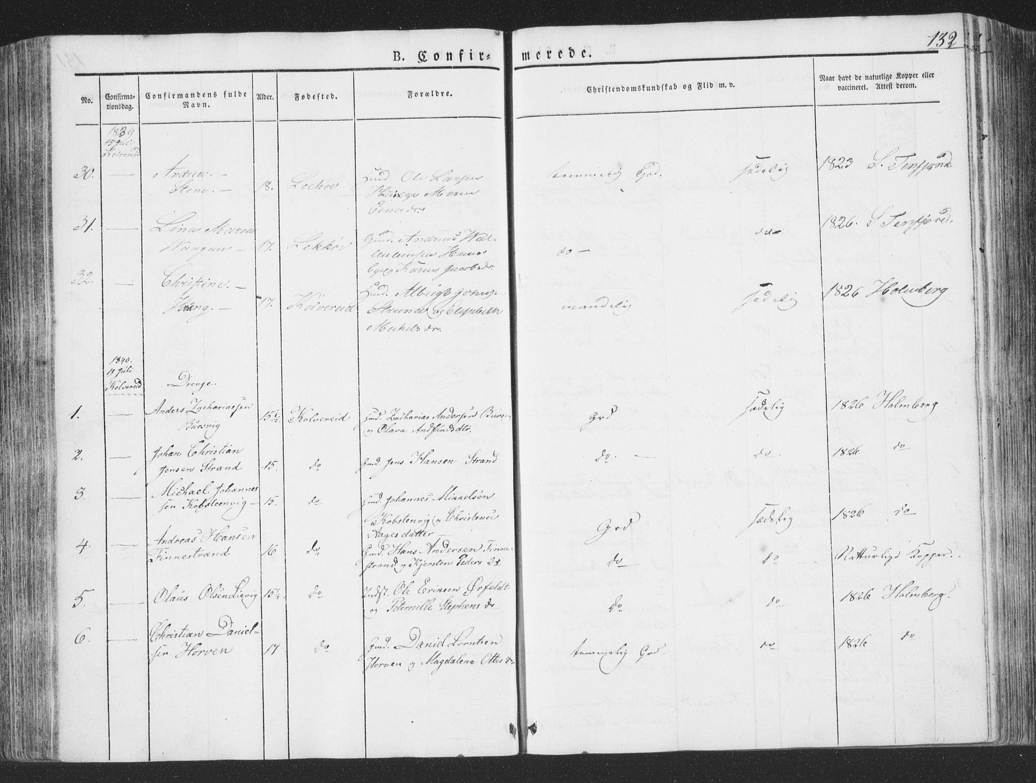 SAT, Ministerialprotokoller, klokkerbøker og fødselsregistre - Nord-Trøndelag, 780/L0639: Ministerialbok nr. 780A04, 1830-1844, s. 132