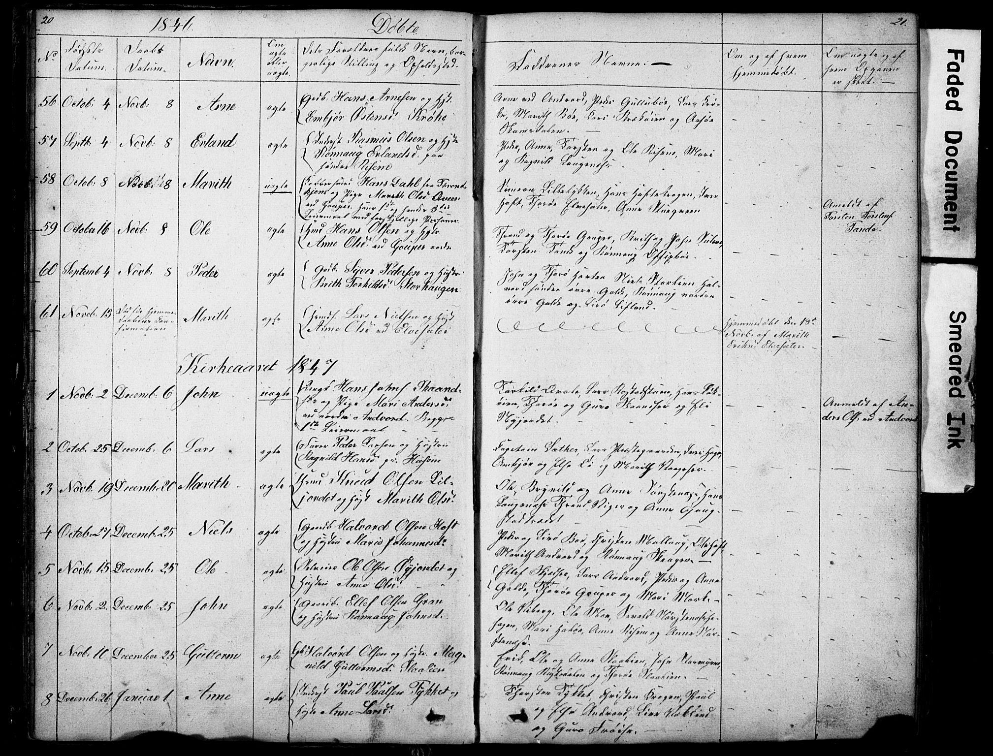 SAH, Lom prestekontor, L/L0012: Klokkerbok nr. 12, 1845-1873, s. 20-21