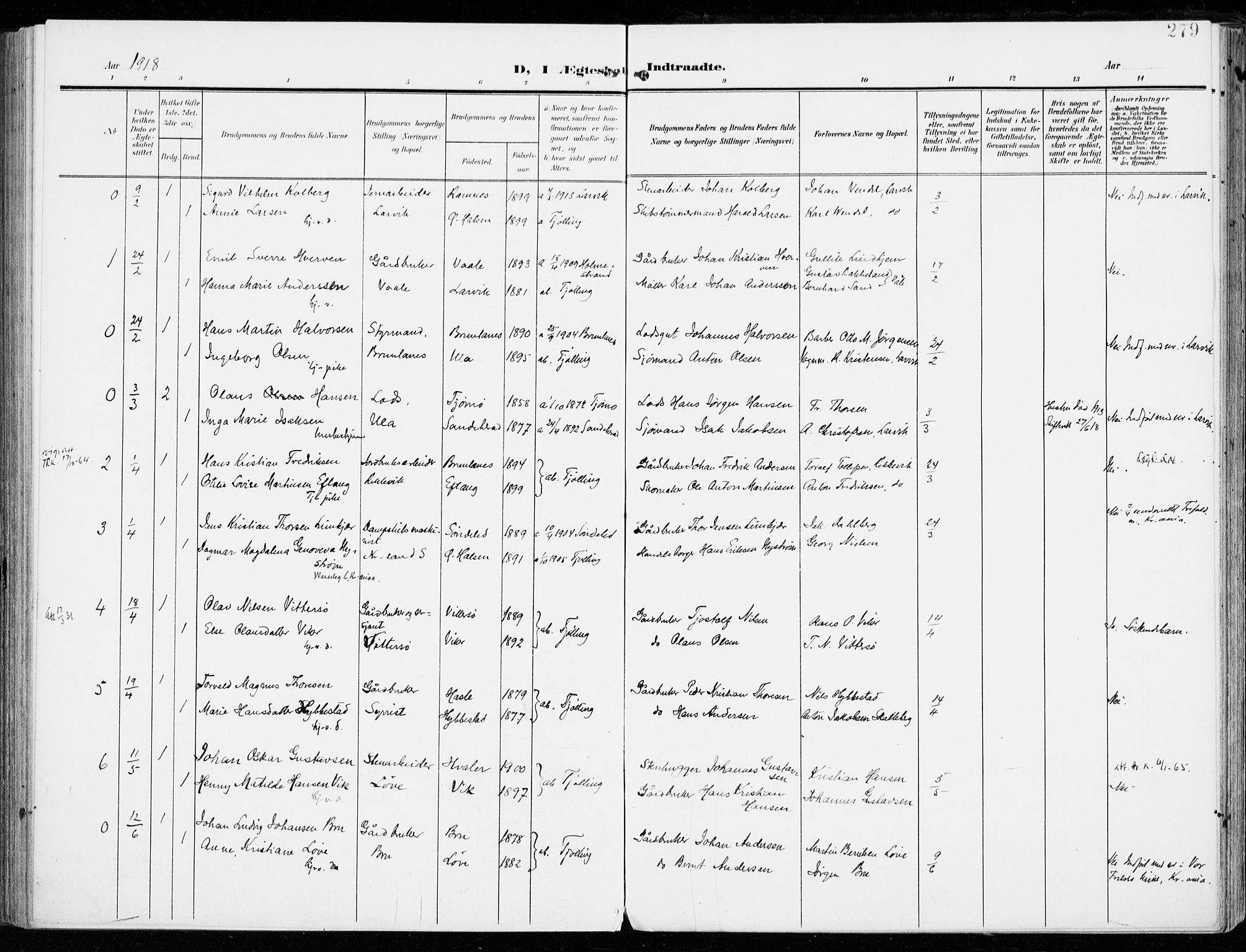 SAKO, Tjølling kirkebøker, F/Fa/L0010: Ministerialbok nr. 10, 1906-1923, s. 279