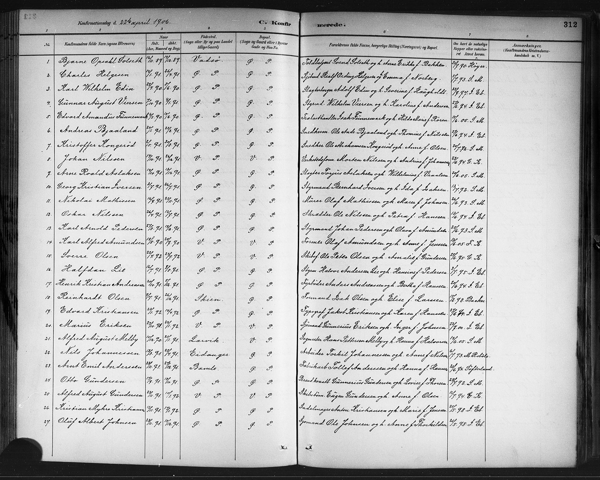 SAKO, Porsgrunn kirkebøker , G/Gb/L0005: Klokkerbok nr. II 5, 1883-1915, s. 312
