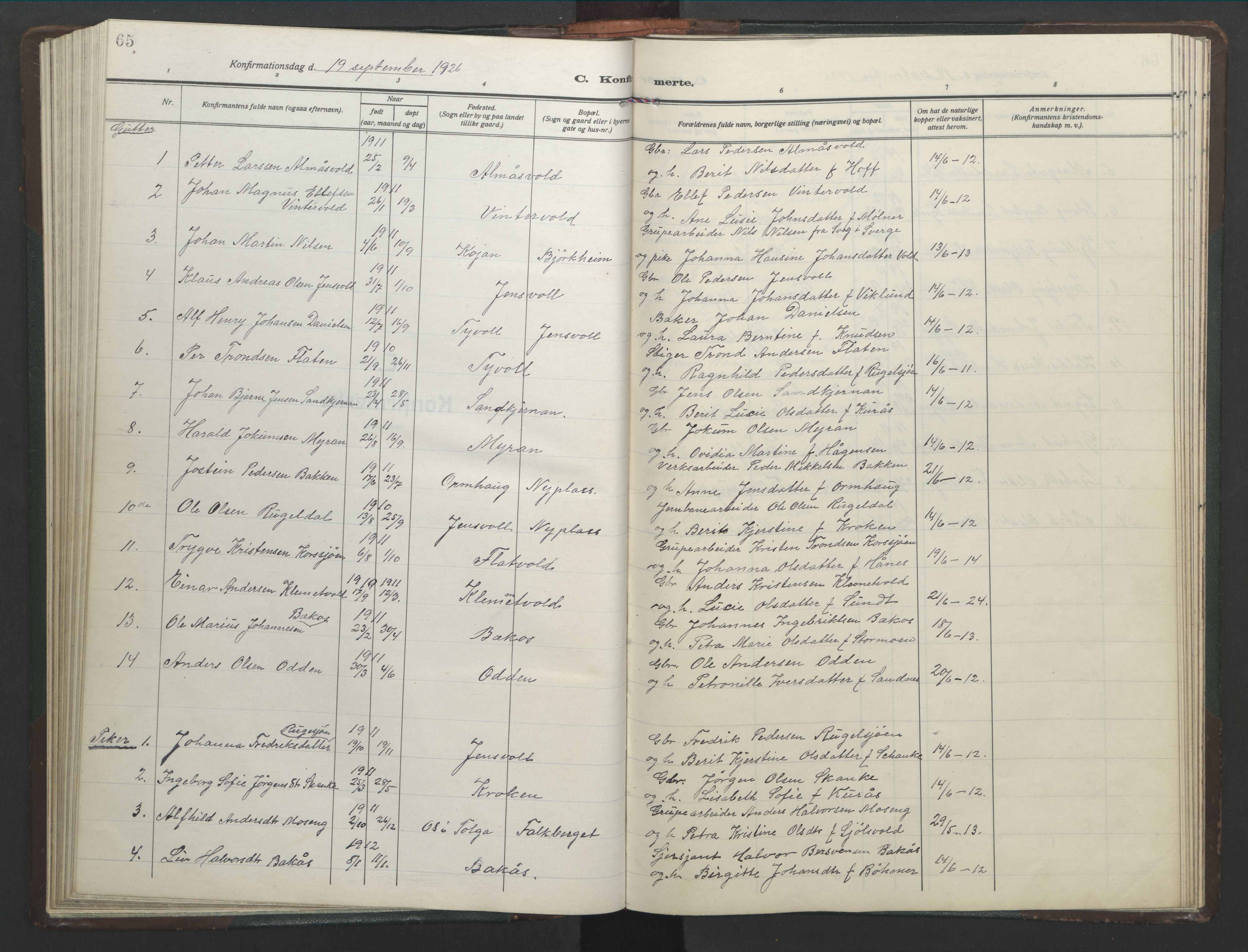SAT, Ministerialprotokoller, klokkerbøker og fødselsregistre - Sør-Trøndelag, 682/L0947: Klokkerbok nr. 682C01, 1926-1968, s. 65