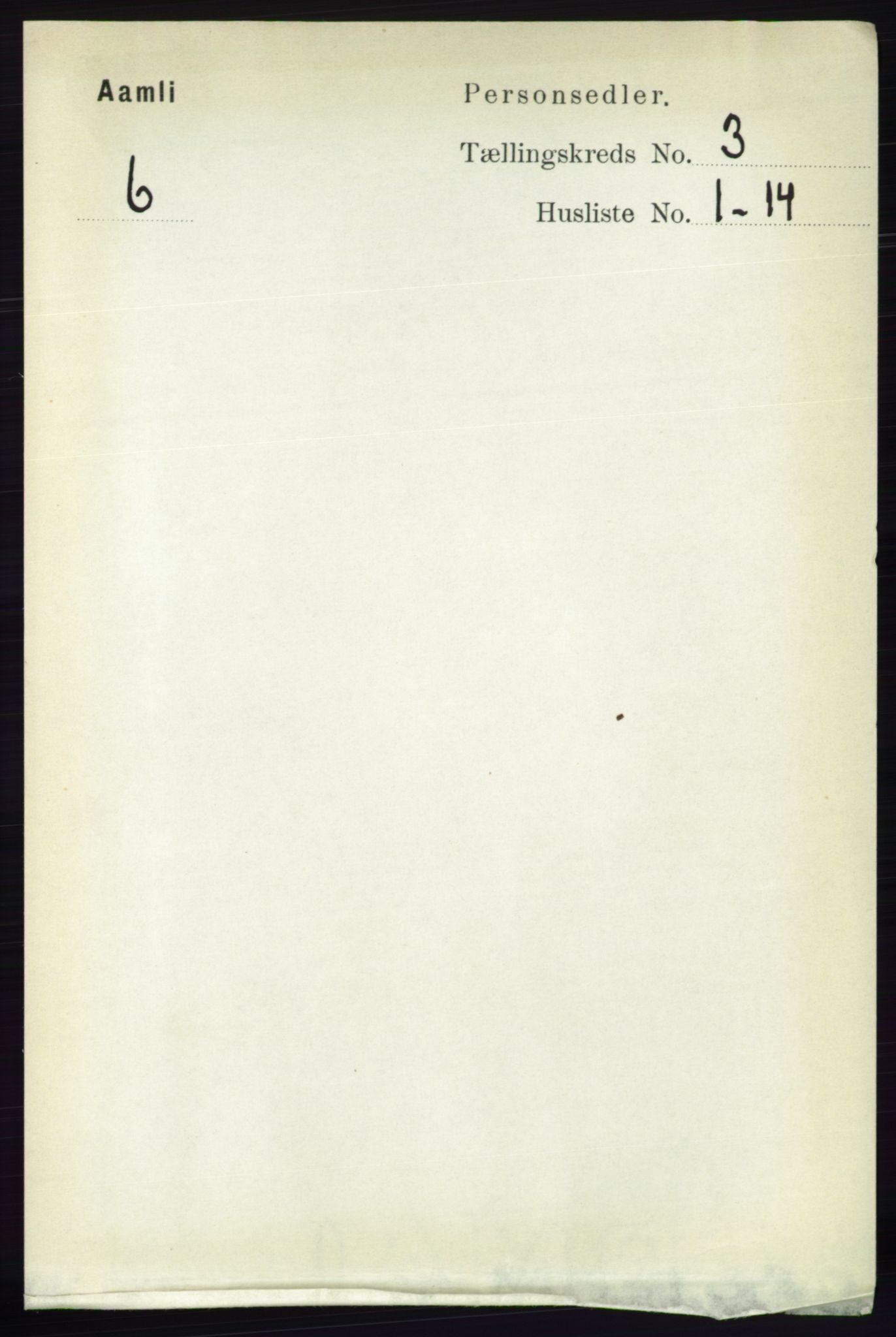 RA, Folketelling 1891 for 0929 Åmli herred, 1891, s. 315