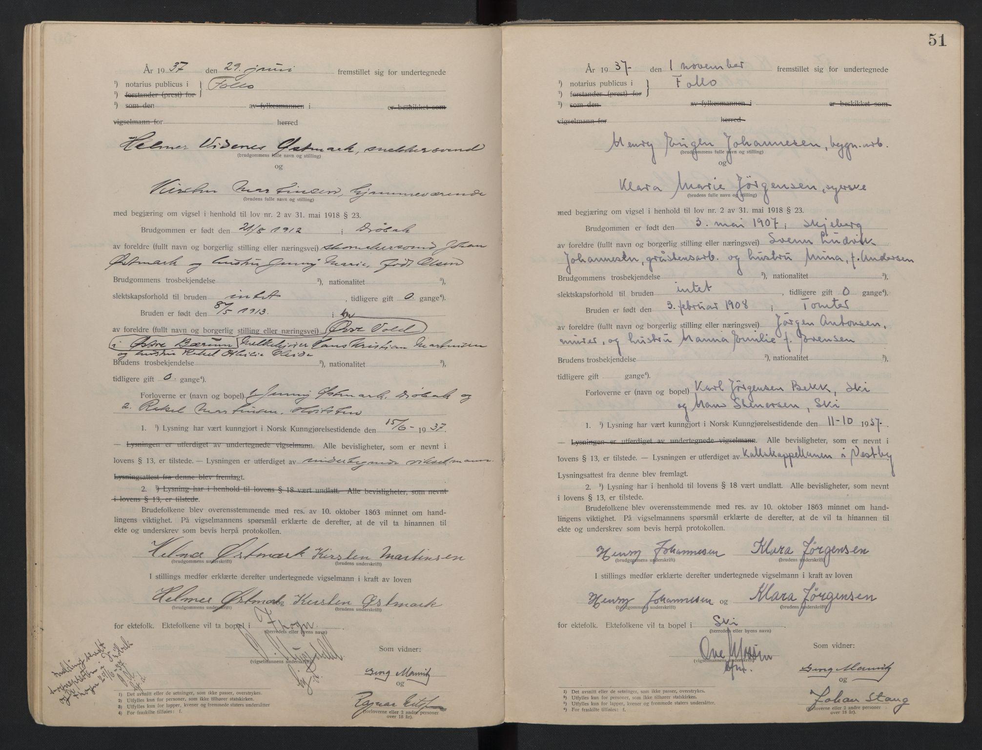 SAO, Follo sorenskriveri, L/La/Lab/L0001: Vigselsbok, 1920-1942, s. 51
