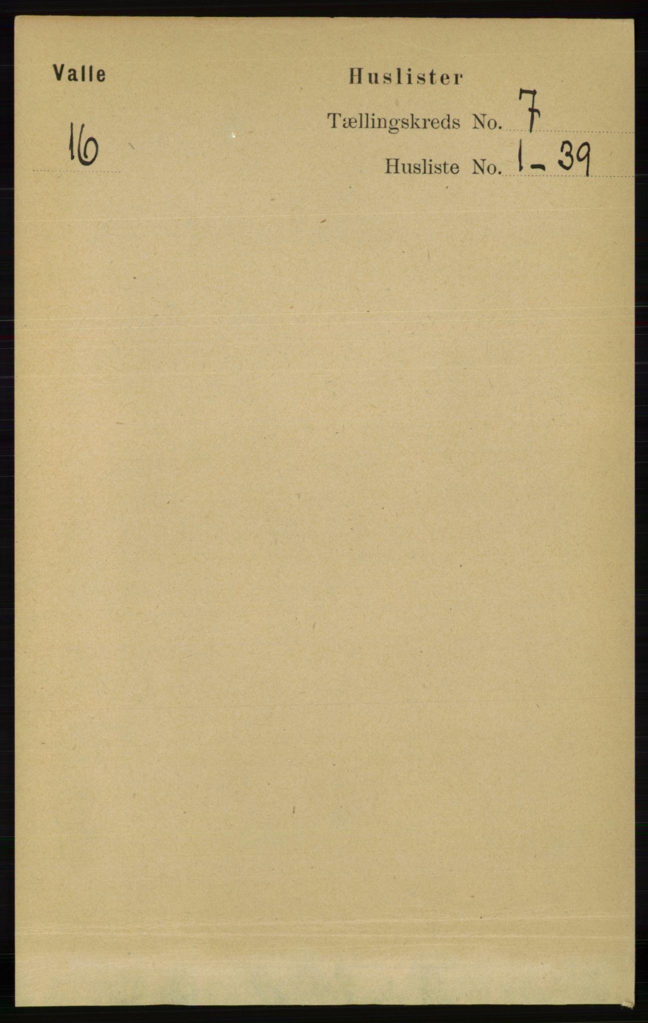 RA, Folketelling 1891 for 0940 Valle herred, 1891, s. 1923