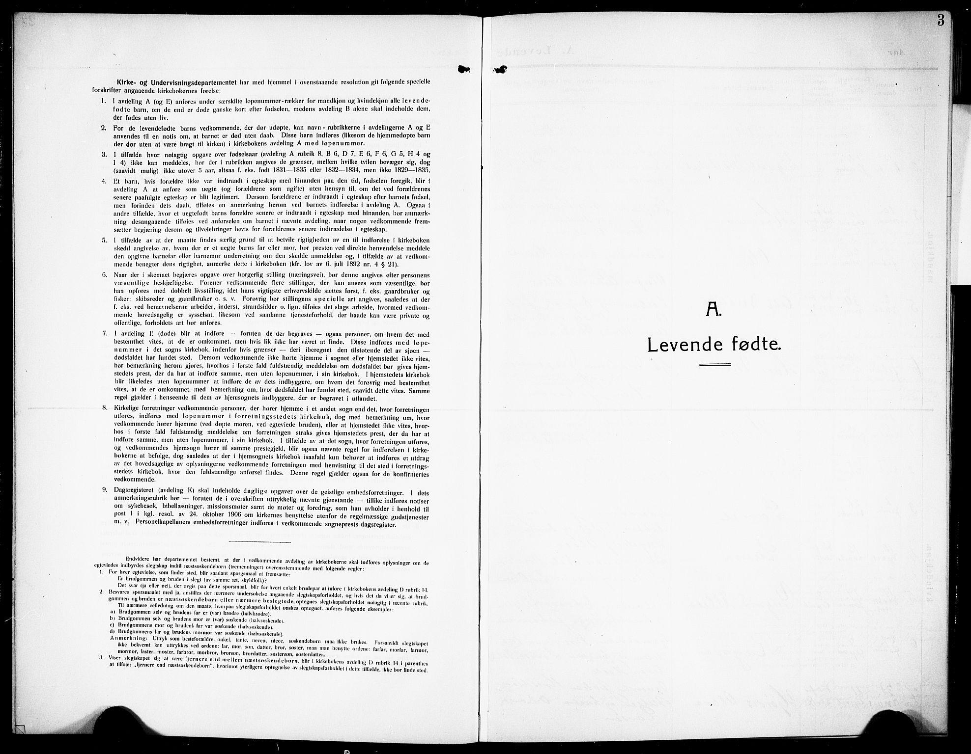SAKO, Siljan kirkebøker, G/Ga/L0003: Klokkerbok nr. 3, 1909-1927, s. 3