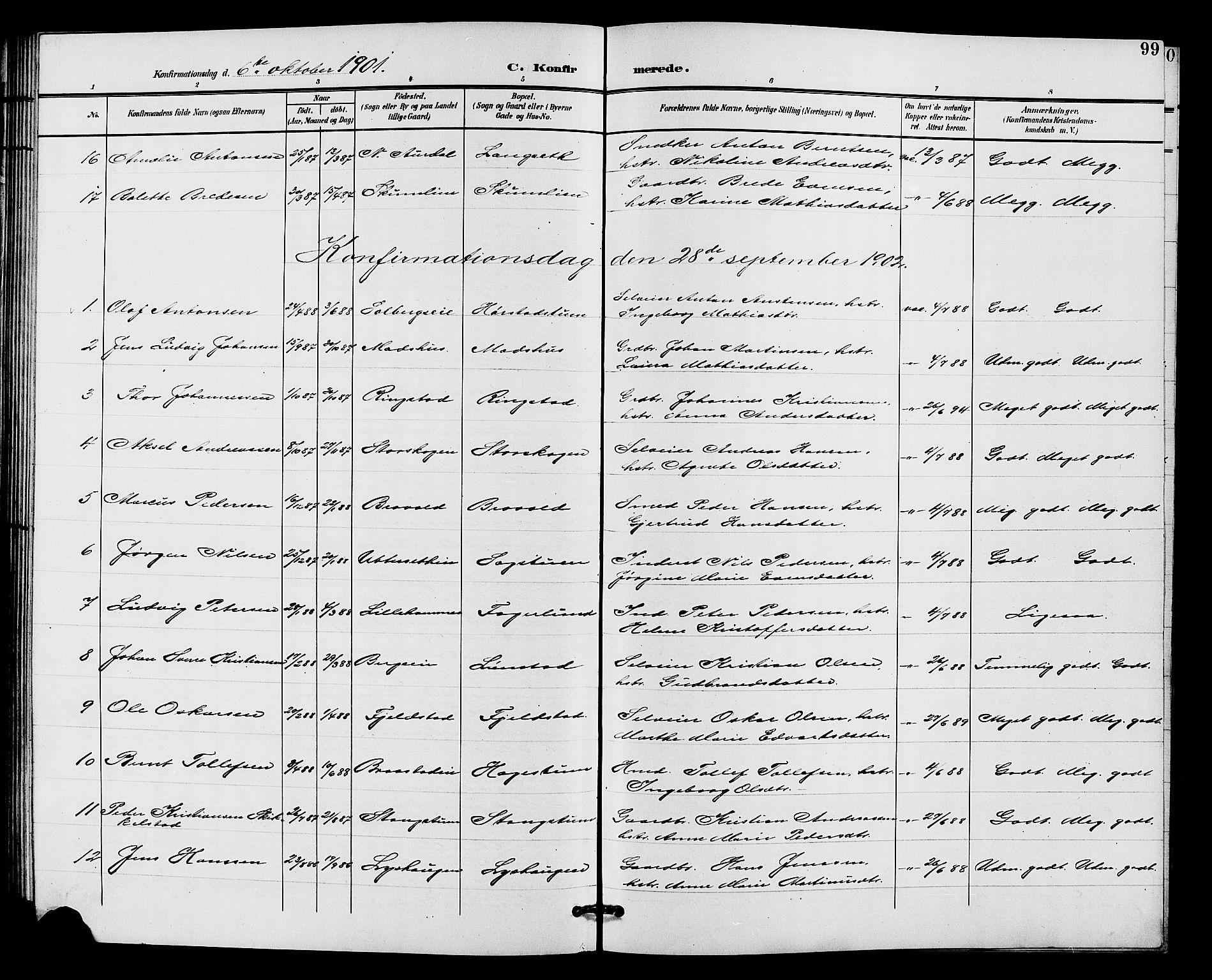 SAH, Vardal prestekontor, H/Ha/Hab/L0011: Klokkerbok nr. 11, 1899-1913, s. 99