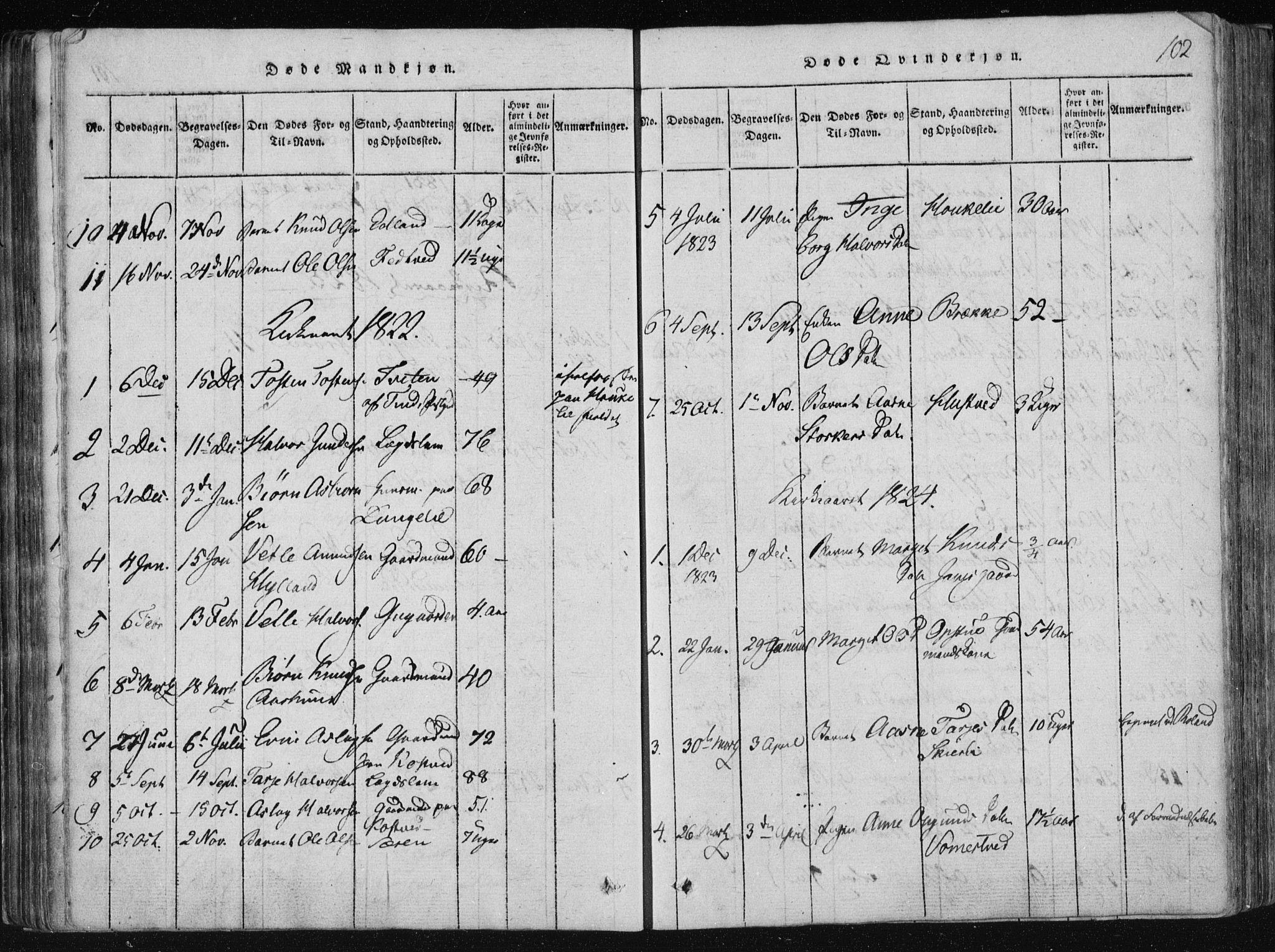 SAKO, Vinje kirkebøker, F/Fa/L0003: Ministerialbok nr. I 3, 1814-1843, s. 102