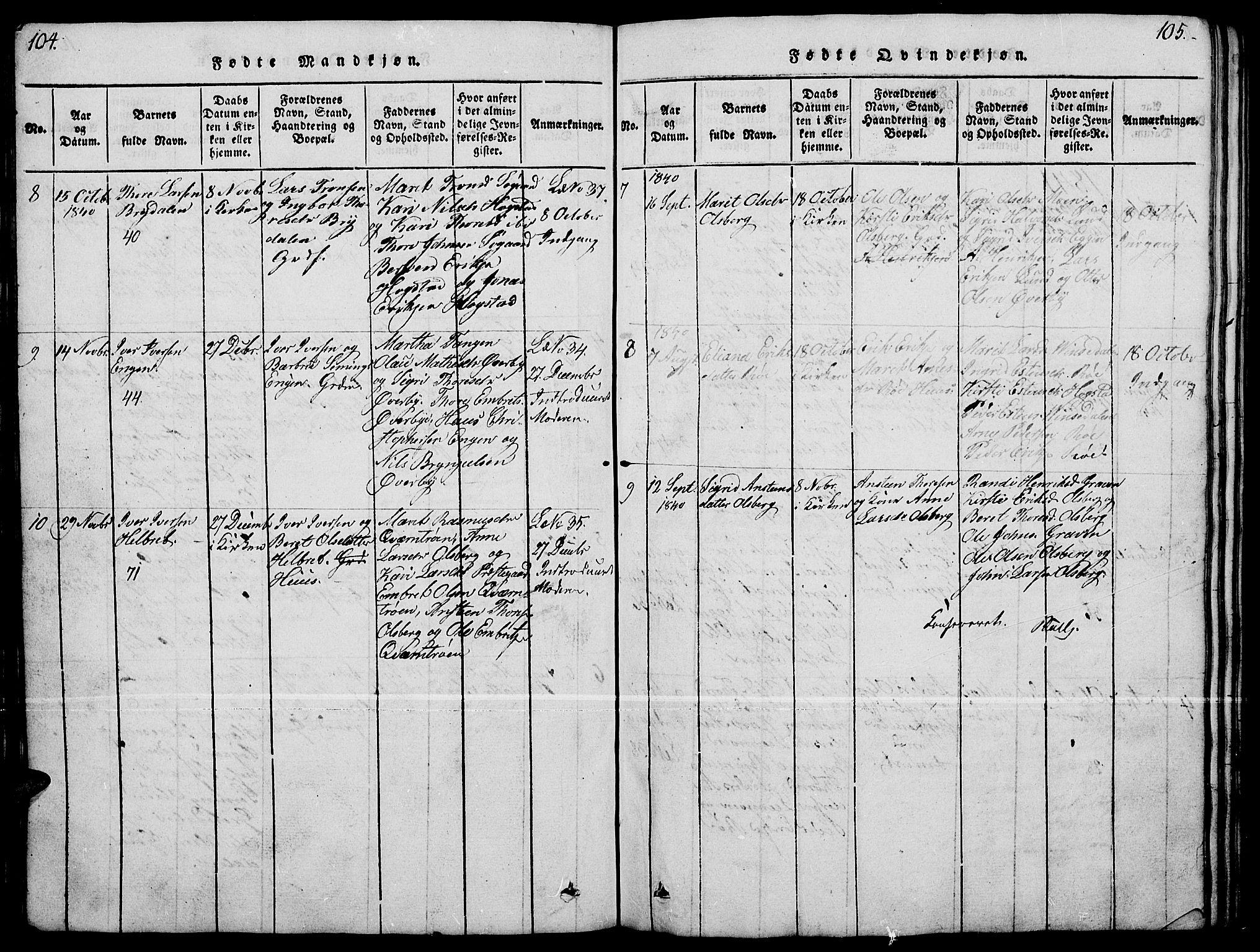 SAH, Tynset prestekontor, Klokkerbok nr. 4, 1814-1879, s. 104-105