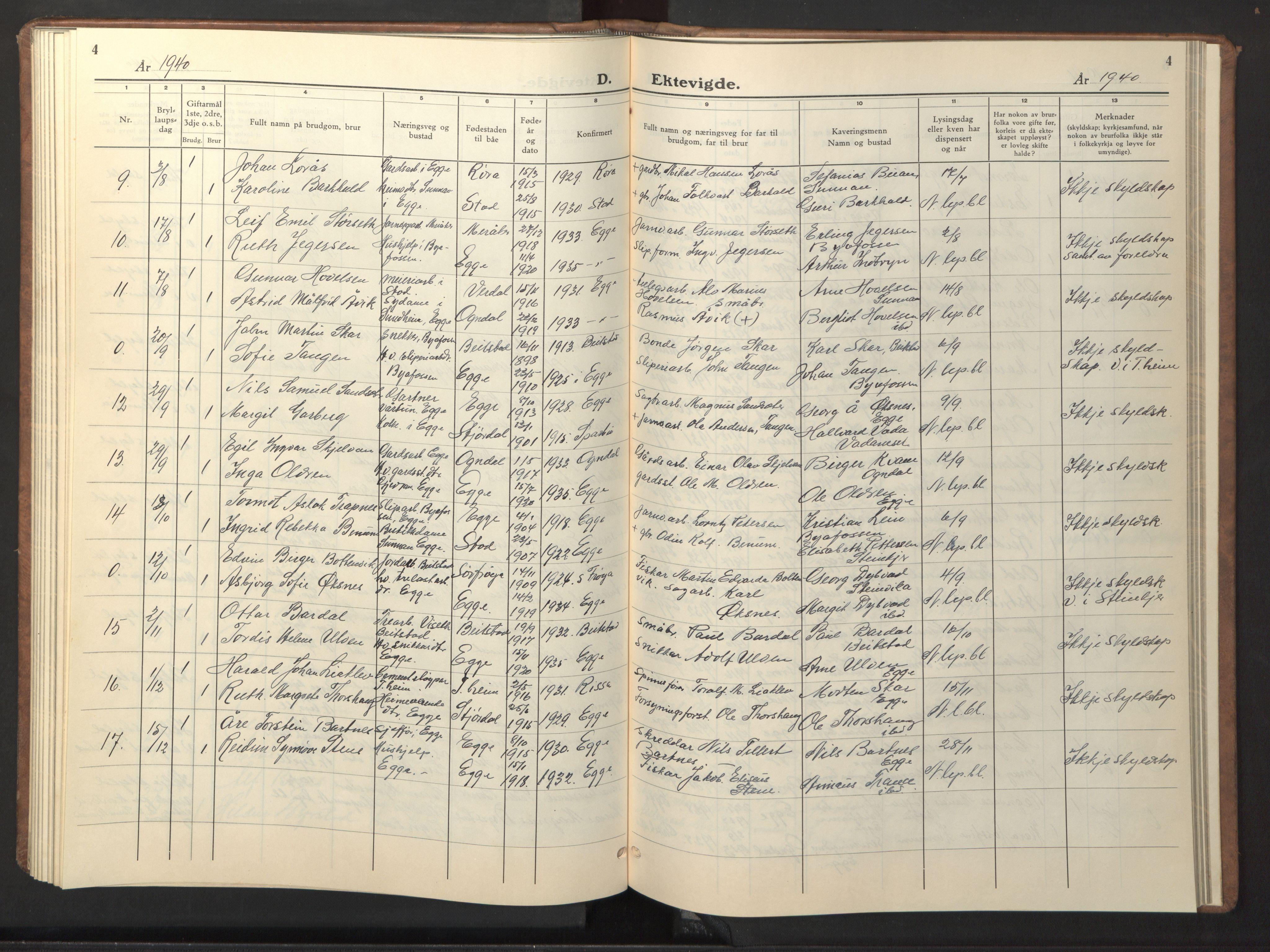 SAT, Ministerialprotokoller, klokkerbøker og fødselsregistre - Nord-Trøndelag, 740/L0384: Klokkerbok nr. 740C05, 1939-1946, s. 4