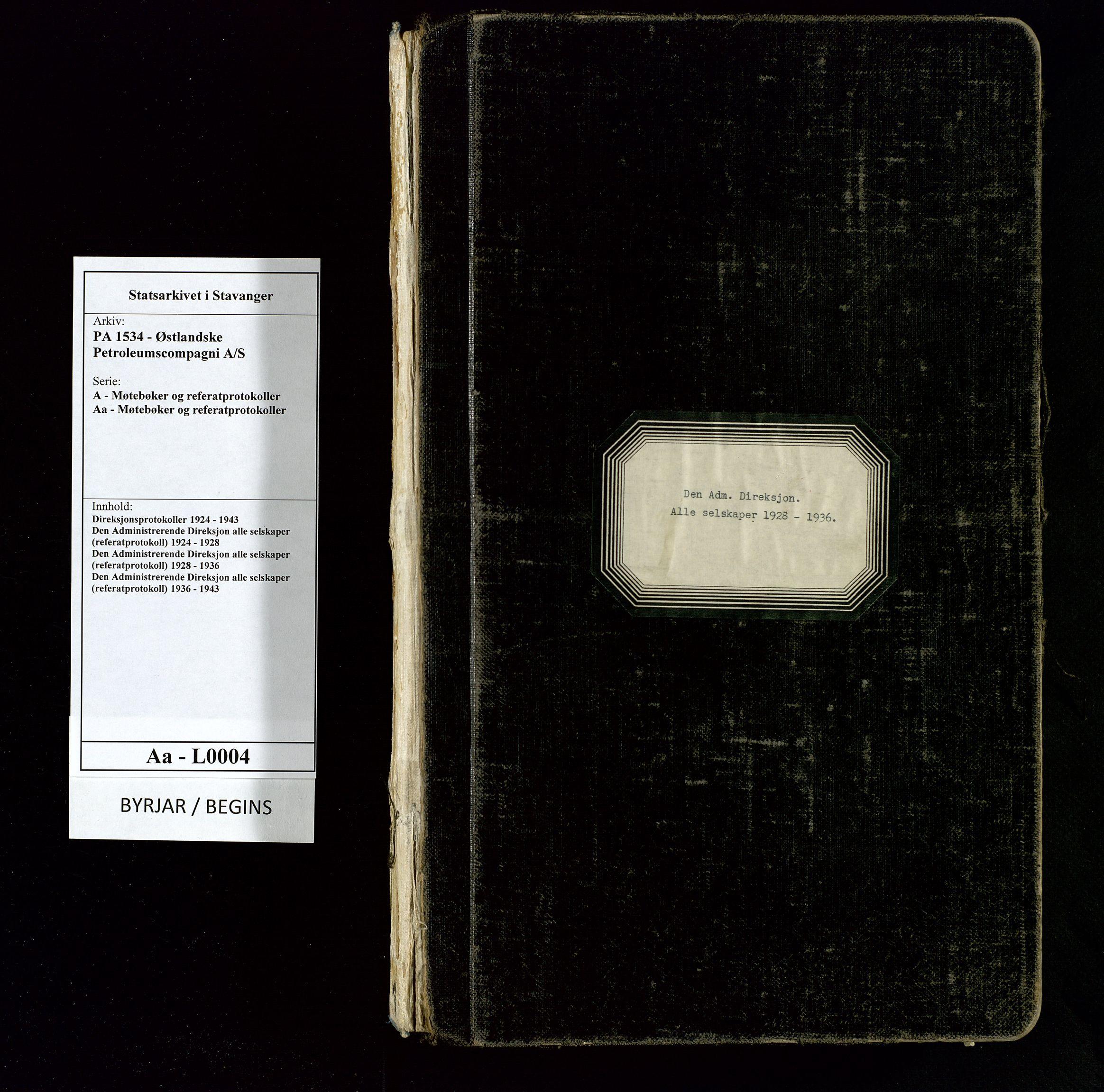 SAST, PA 1534 - Østlandske Petroleumscompagni A/S, A/Aa/L0004: Direksjonsprotokoller, 1928-1936, s. upaginert