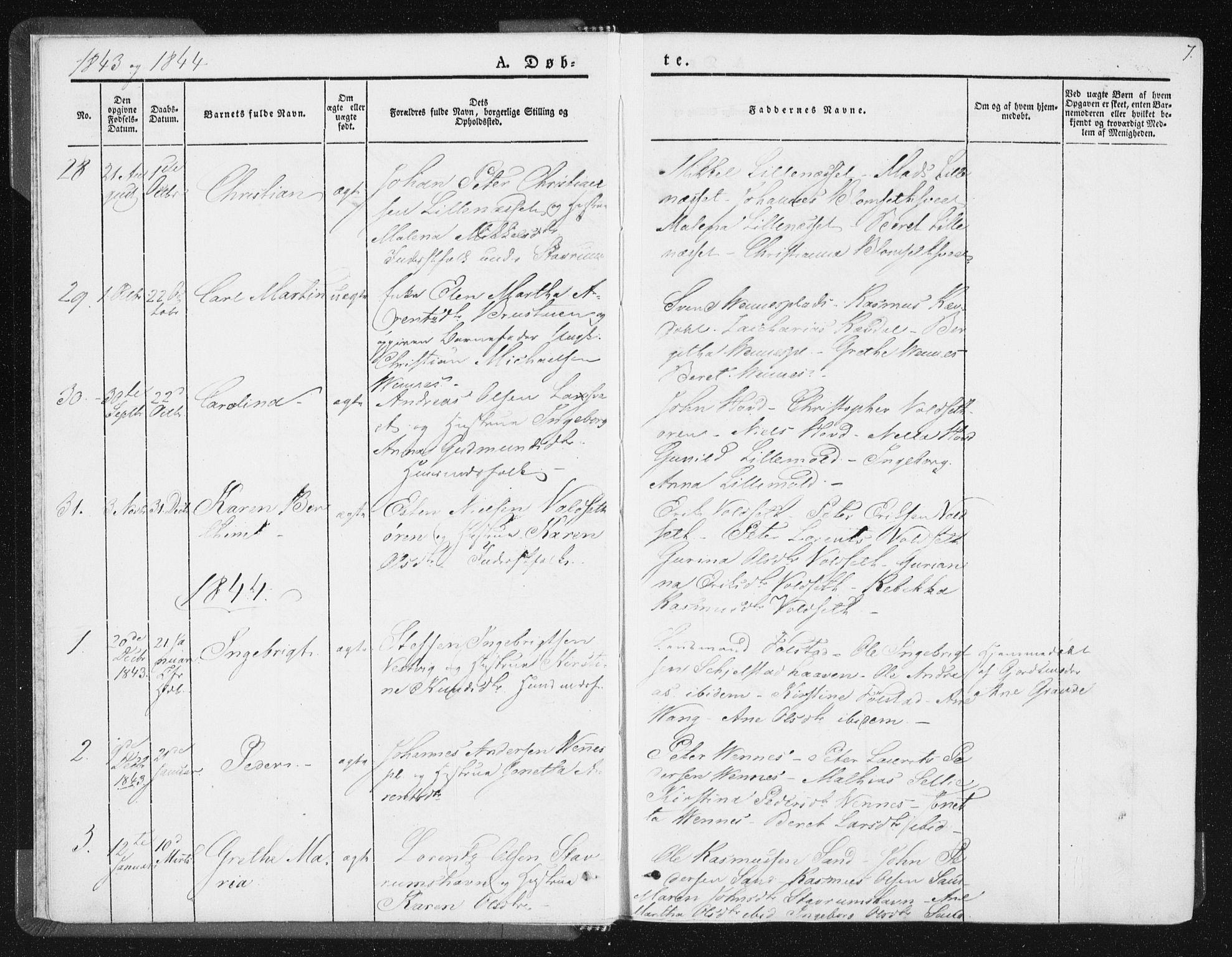 SAT, Ministerialprotokoller, klokkerbøker og fødselsregistre - Nord-Trøndelag, 744/L0418: Ministerialbok nr. 744A02, 1843-1866, s. 7