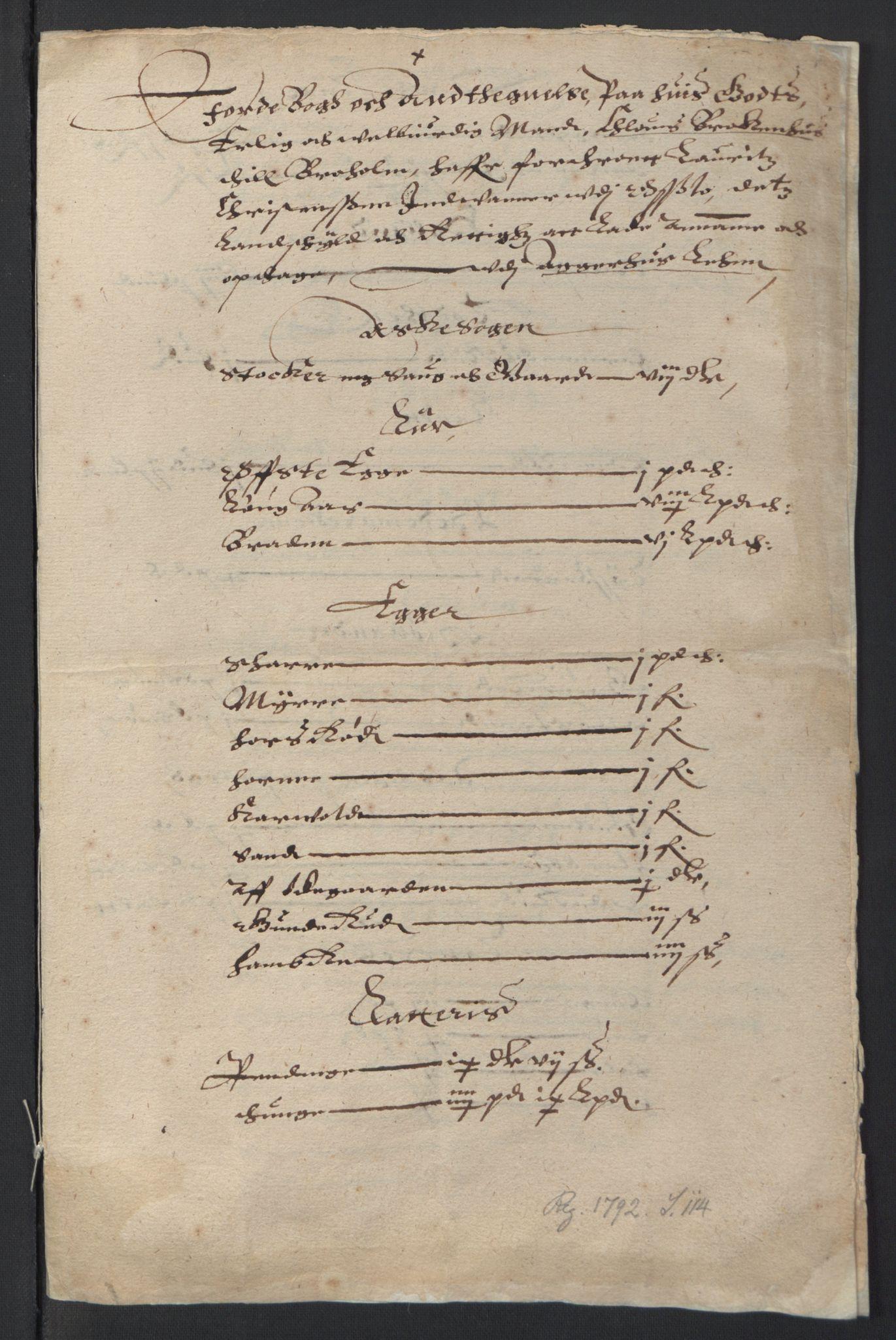 RA, Stattholderembetet 1572-1771, Ek/L0007: Jordebøker til utlikning av rosstjeneste 1624-1626:, 1624-1625, s. 110