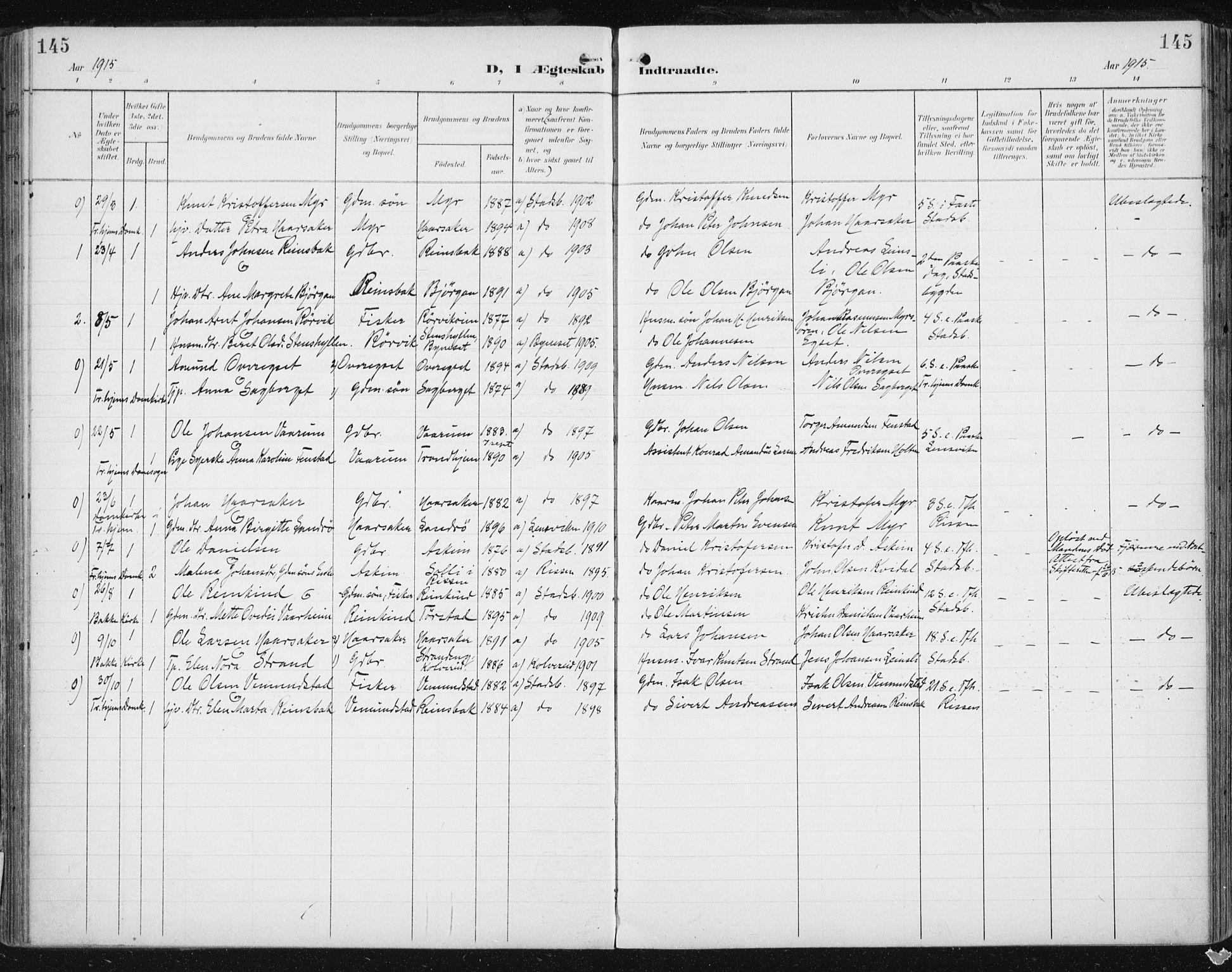 SAT, Ministerialprotokoller, klokkerbøker og fødselsregistre - Sør-Trøndelag, 646/L0616: Ministerialbok nr. 646A14, 1900-1918, s. 145