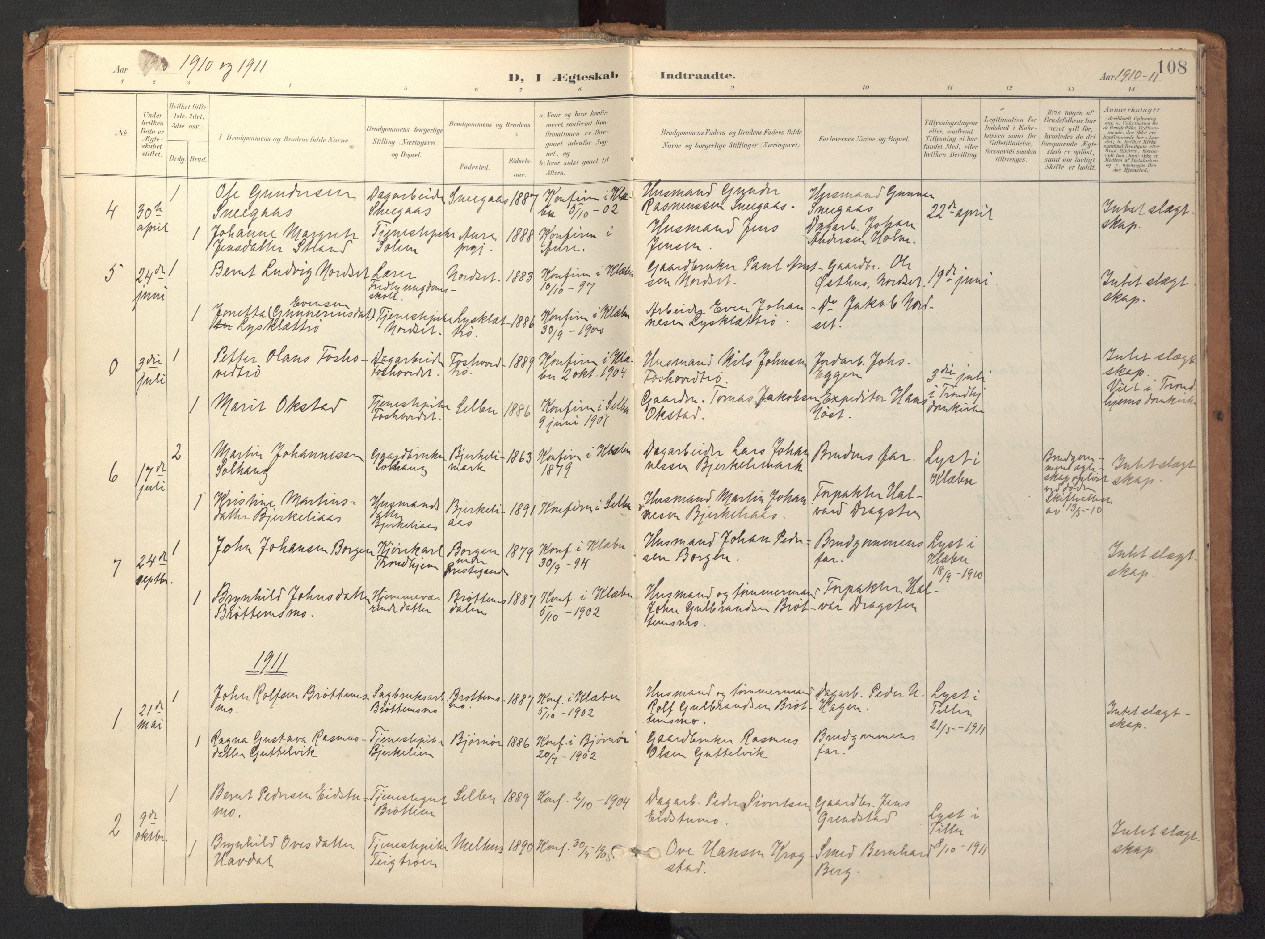 SAT, Ministerialprotokoller, klokkerbøker og fødselsregistre - Sør-Trøndelag, 618/L0448: Ministerialbok nr. 618A11, 1898-1916, s. 108