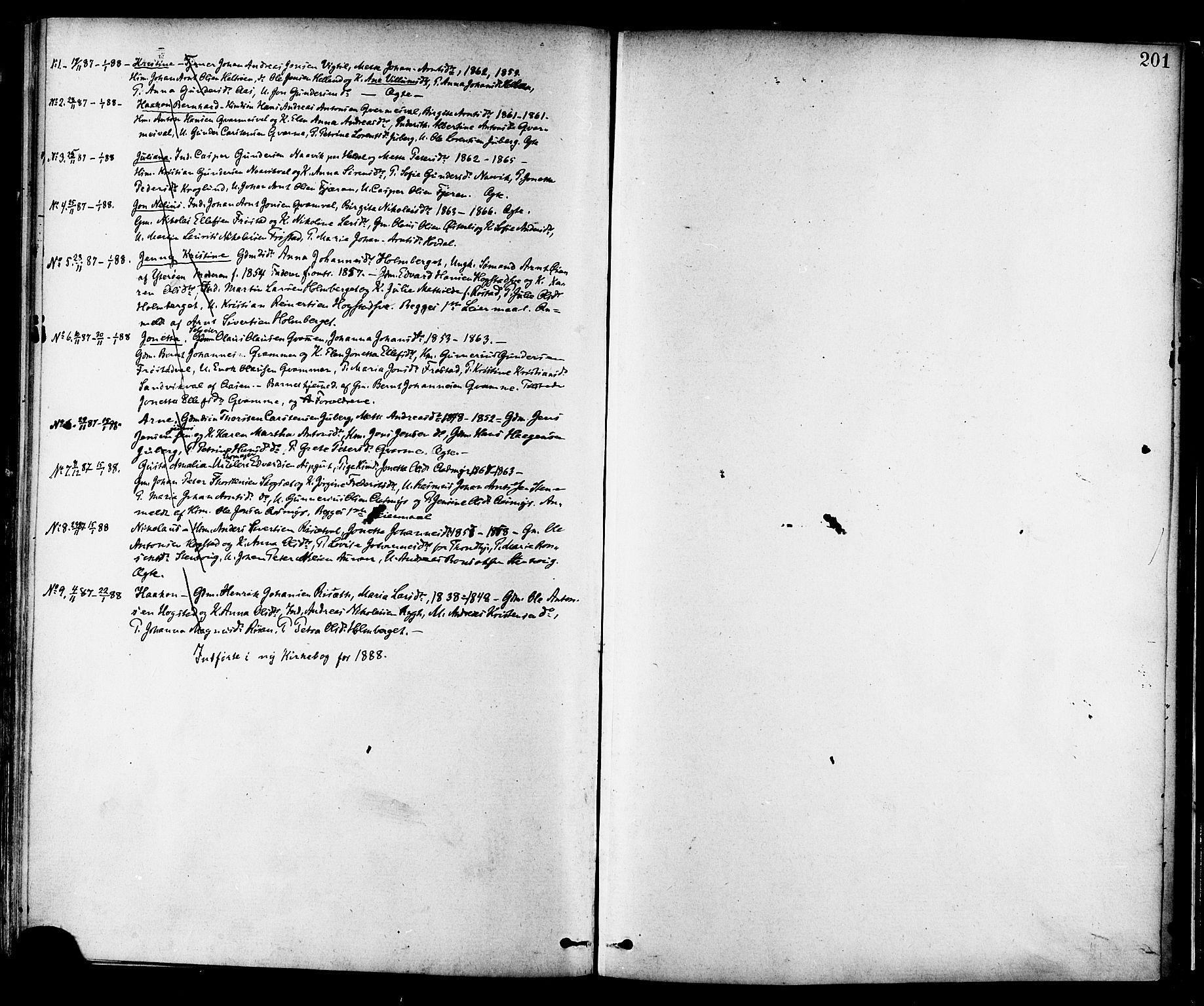 SAT, Ministerialprotokoller, klokkerbøker og fødselsregistre - Nord-Trøndelag, 713/L0120: Ministerialbok nr. 713A09, 1878-1887, s. 201