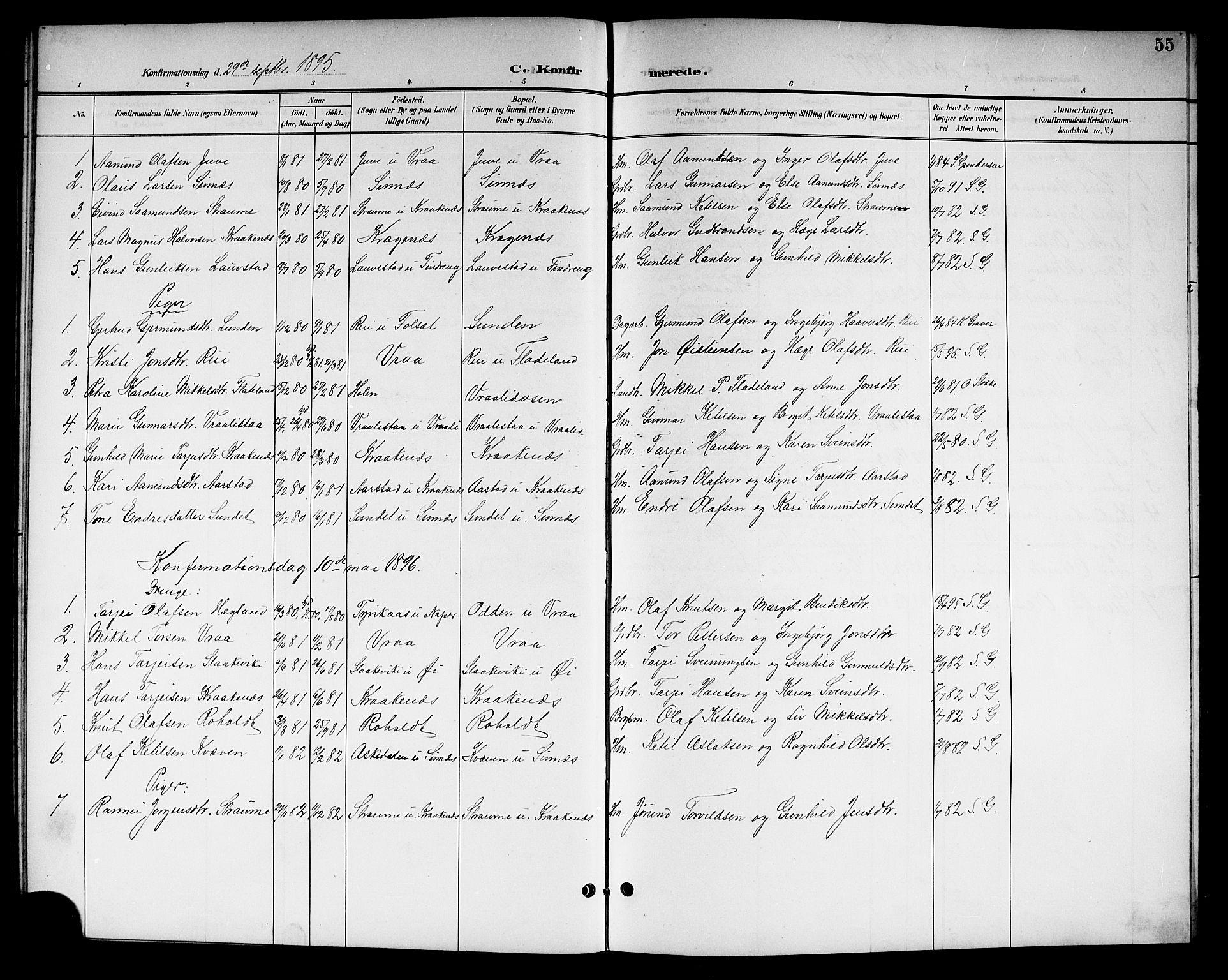 SAKO, Kviteseid kirkebøker, G/Gc/L0001: Klokkerbok nr. III 1, 1893-1916, s. 55