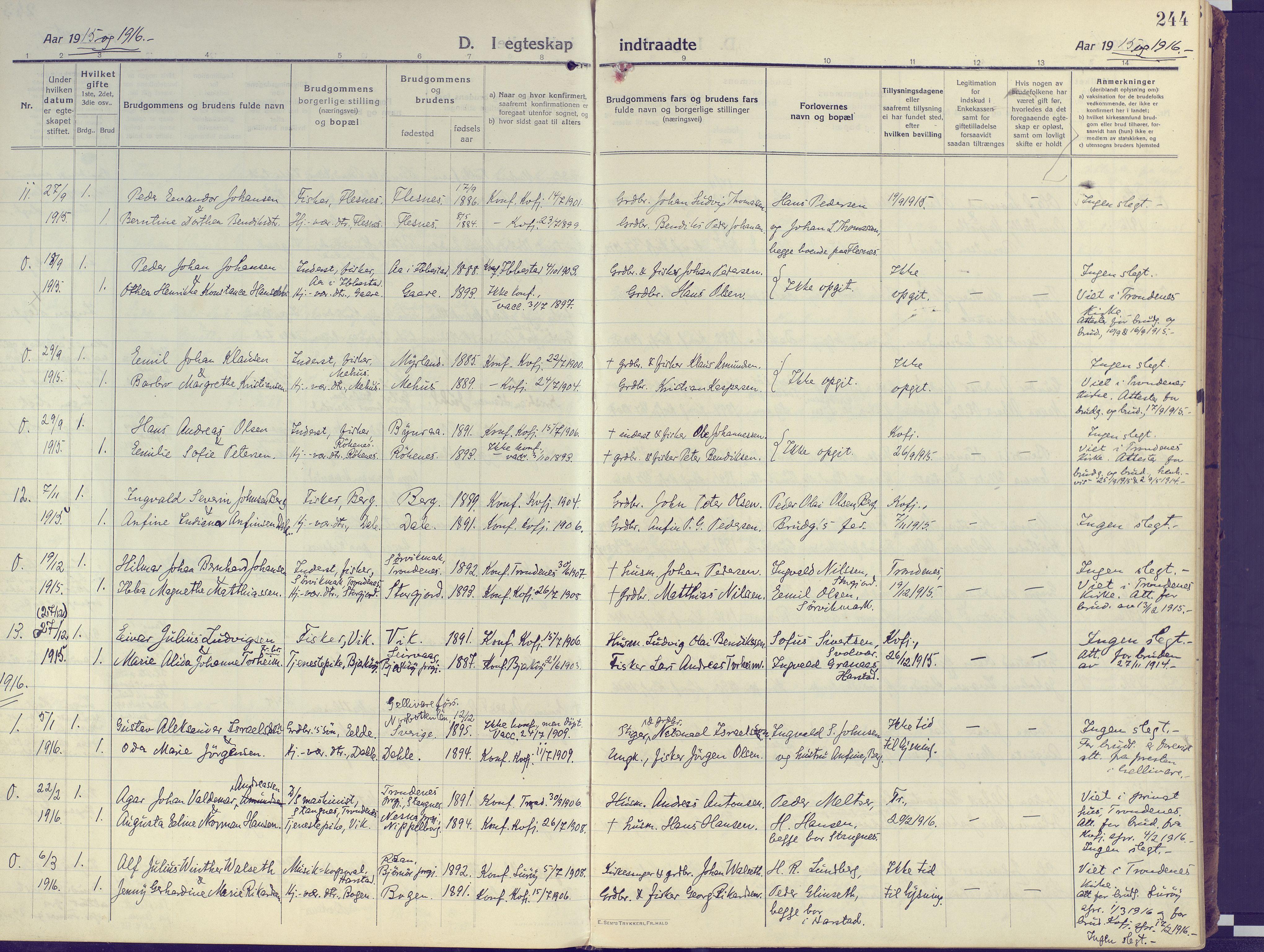 SATØ, Kvæfjord sokneprestkontor, G/Ga/Gaa/L0007kirke: Ministerialbok nr. 7, 1915-1931, s. 244
