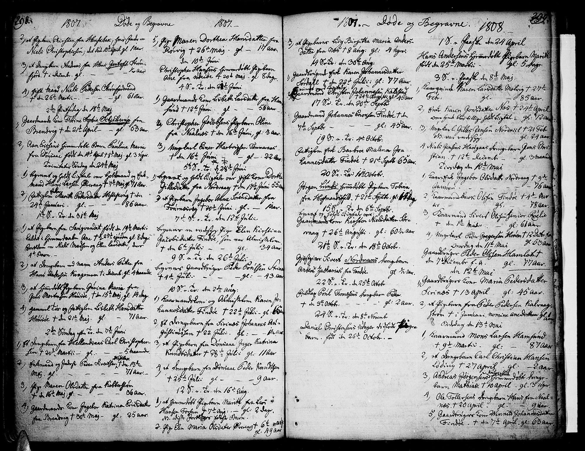 SAT, Ministerialprotokoller, klokkerbøker og fødselsregistre - Nordland, 859/L0841: Ministerialbok nr. 859A01, 1766-1821, s. 298-299