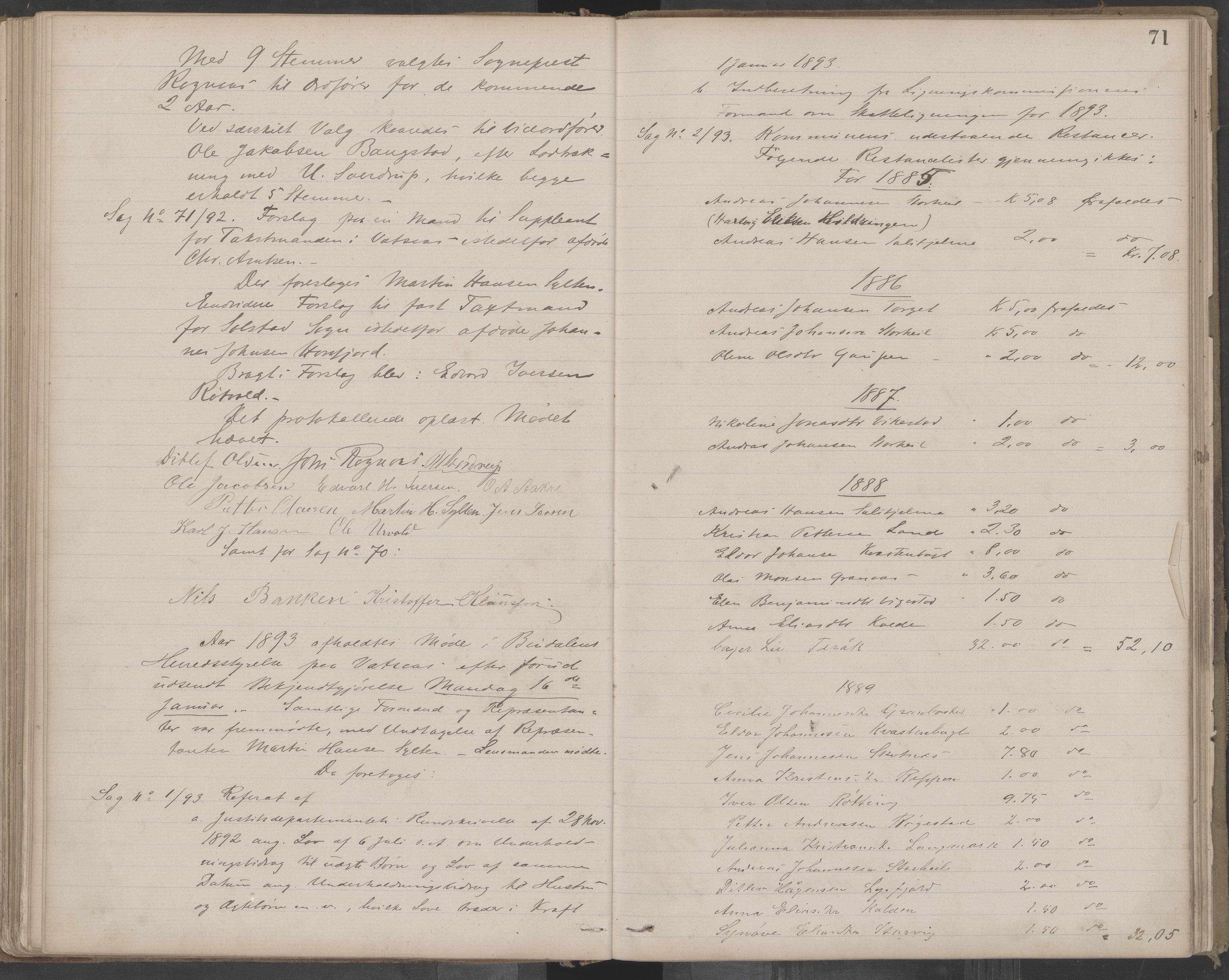 AIN, Bindal kommune. Formannskapet, A/Aa/L0000c: Møtebok, 1885-1897, s. 71