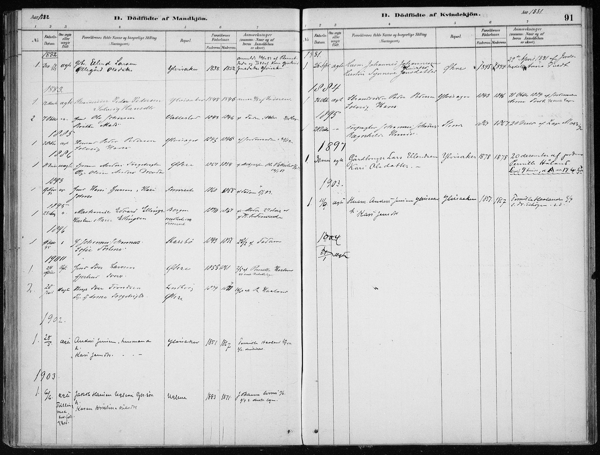 SAB, Sogndal Sokneprestembete, H/Haa/Haac/L0001: Ministerialbok nr. C 1, 1878-1907, s. 91