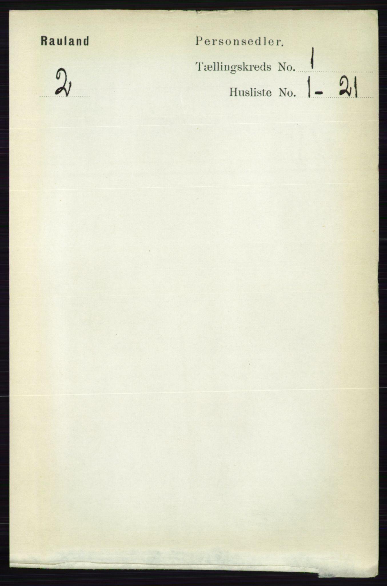 RA, Folketelling 1891 for 0835 Rauland herred, 1891, s. 37
