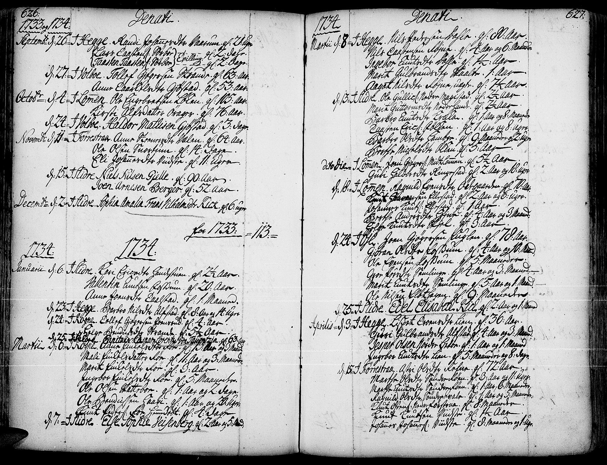 SAH, Slidre prestekontor, Ministerialbok nr. 1, 1724-1814, s. 626-627
