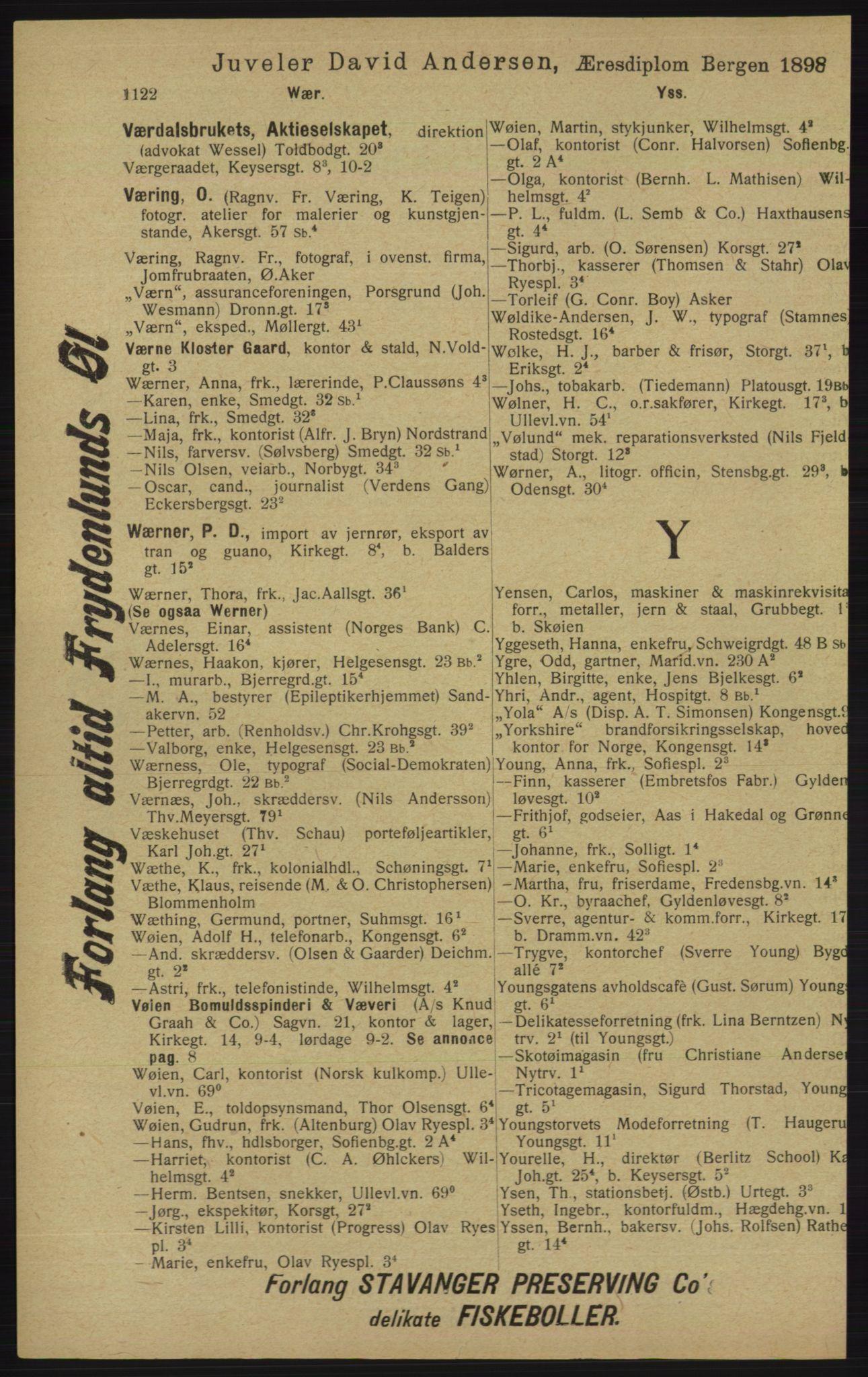 RA, Kristiania adressebok (publikasjon)*, 1913, s. 1122