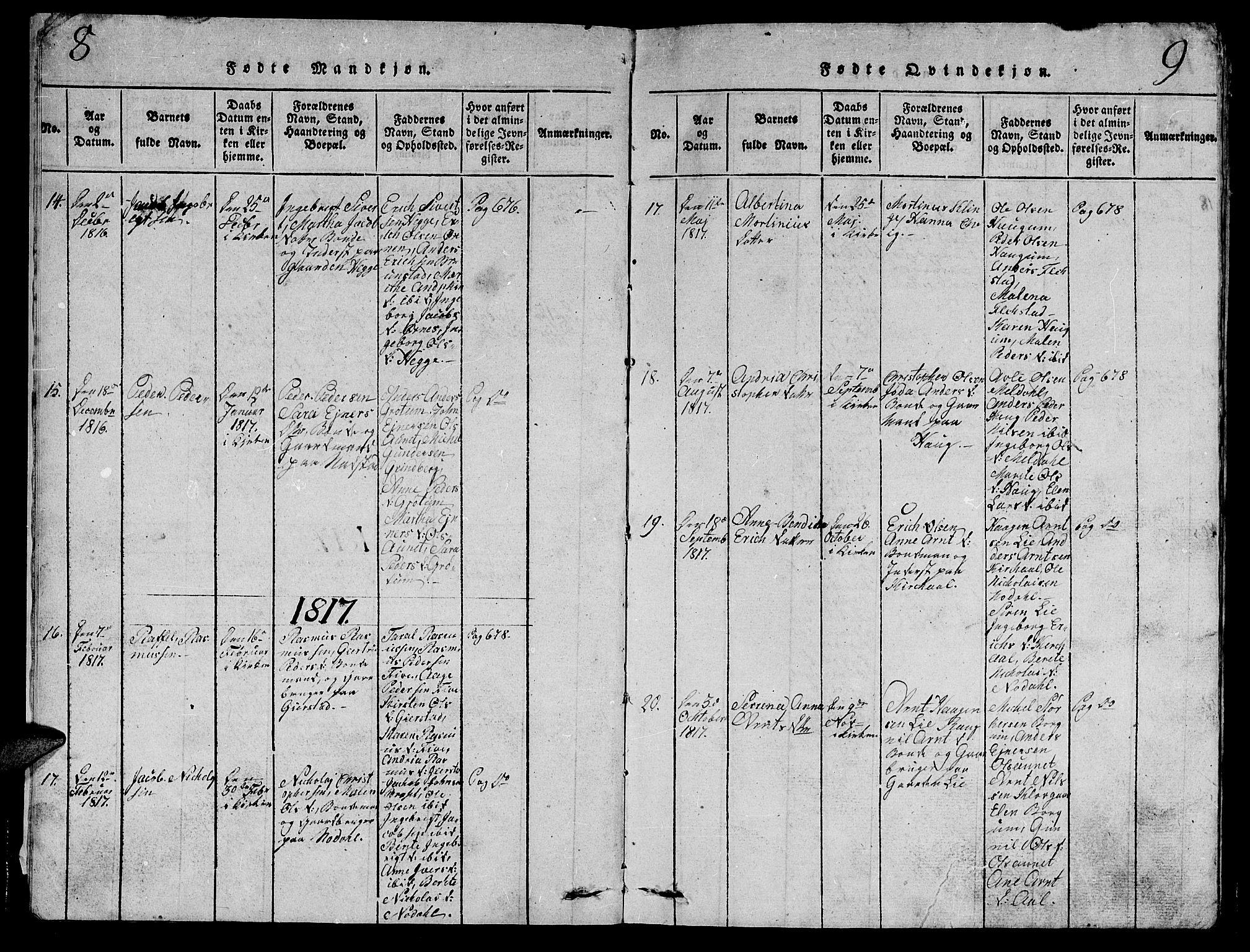 SAT, Ministerialprotokoller, klokkerbøker og fødselsregistre - Nord-Trøndelag, 747/L0459: Klokkerbok nr. 747C01, 1816-1842, s. 8-9