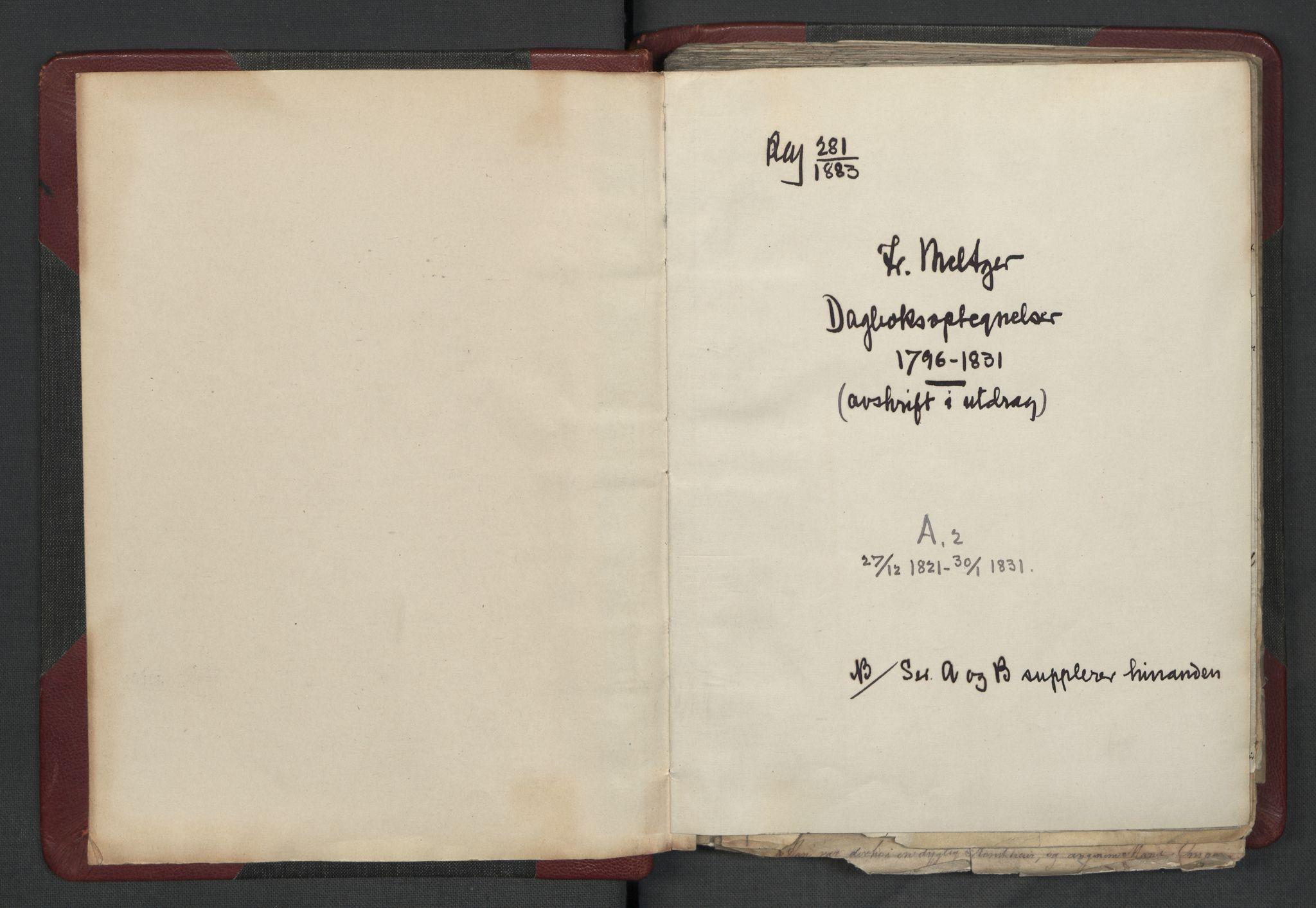 RA, Meltzer, Fredrik, F/L0003: Dagbok, 1821-1831, s. upaginert