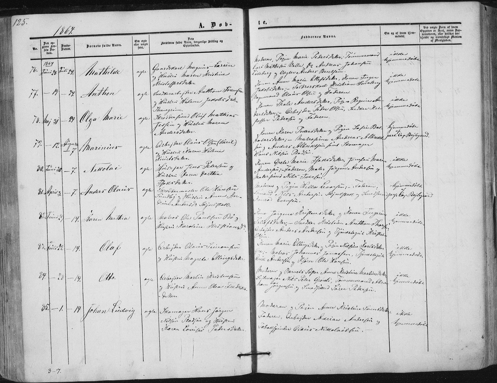 SAKO, Tønsberg kirkebøker, F/Fa/L0008: Ministerialbok nr. I 8, 1855-1864, s. 125