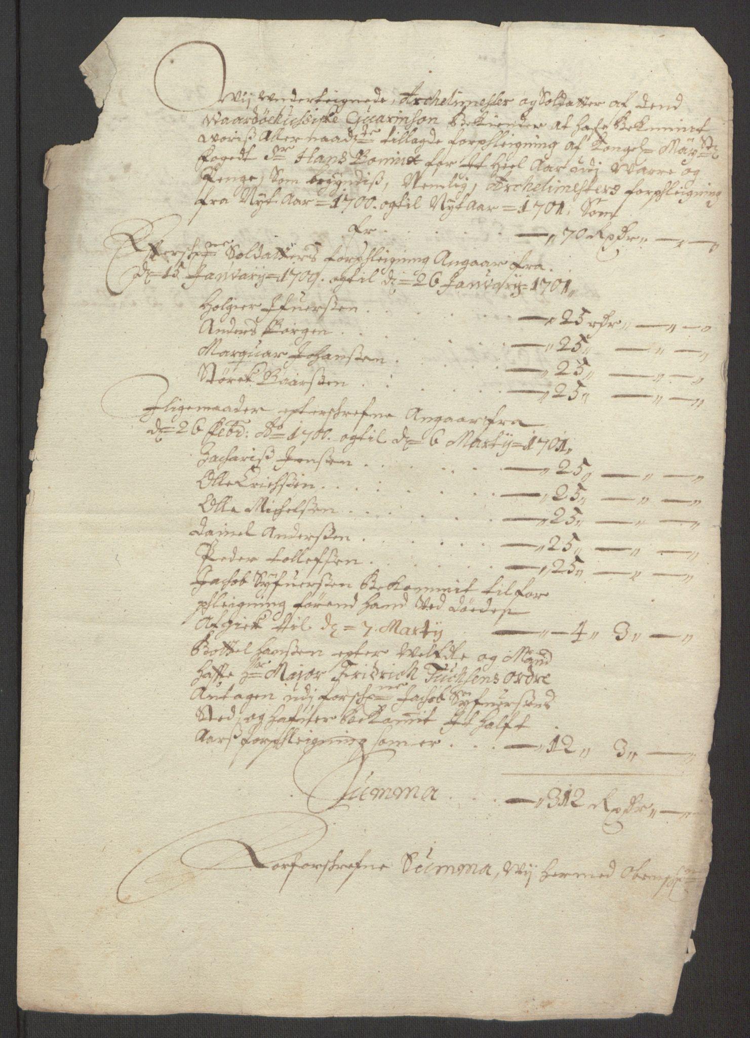 RA, Rentekammeret inntil 1814, Reviderte regnskaper, Fogderegnskap, R69/L4851: Fogderegnskap Finnmark/Vardøhus, 1691-1700, s. 479