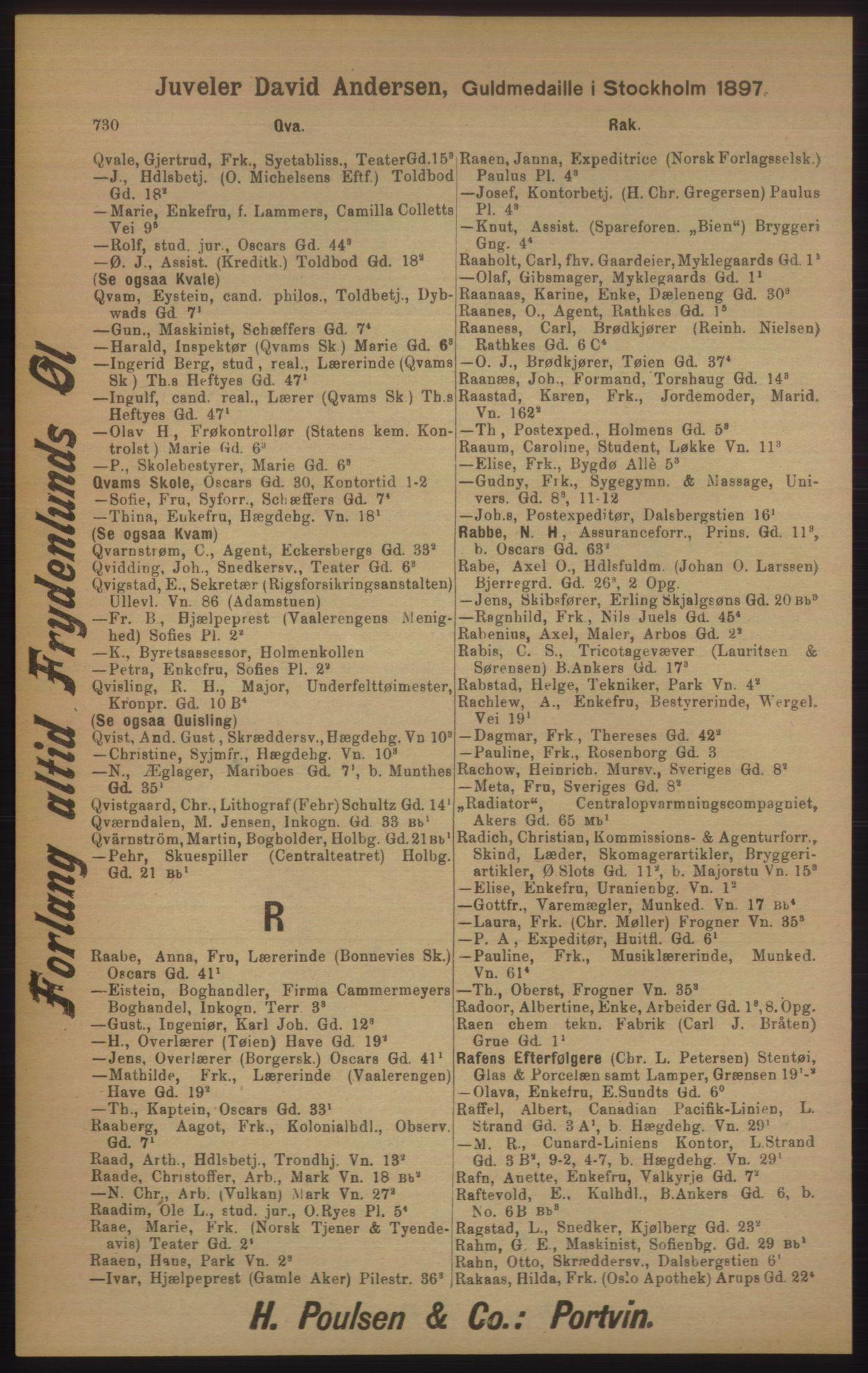 RA, Kristiania adressebok (publikasjon)*, 1905, s. 730