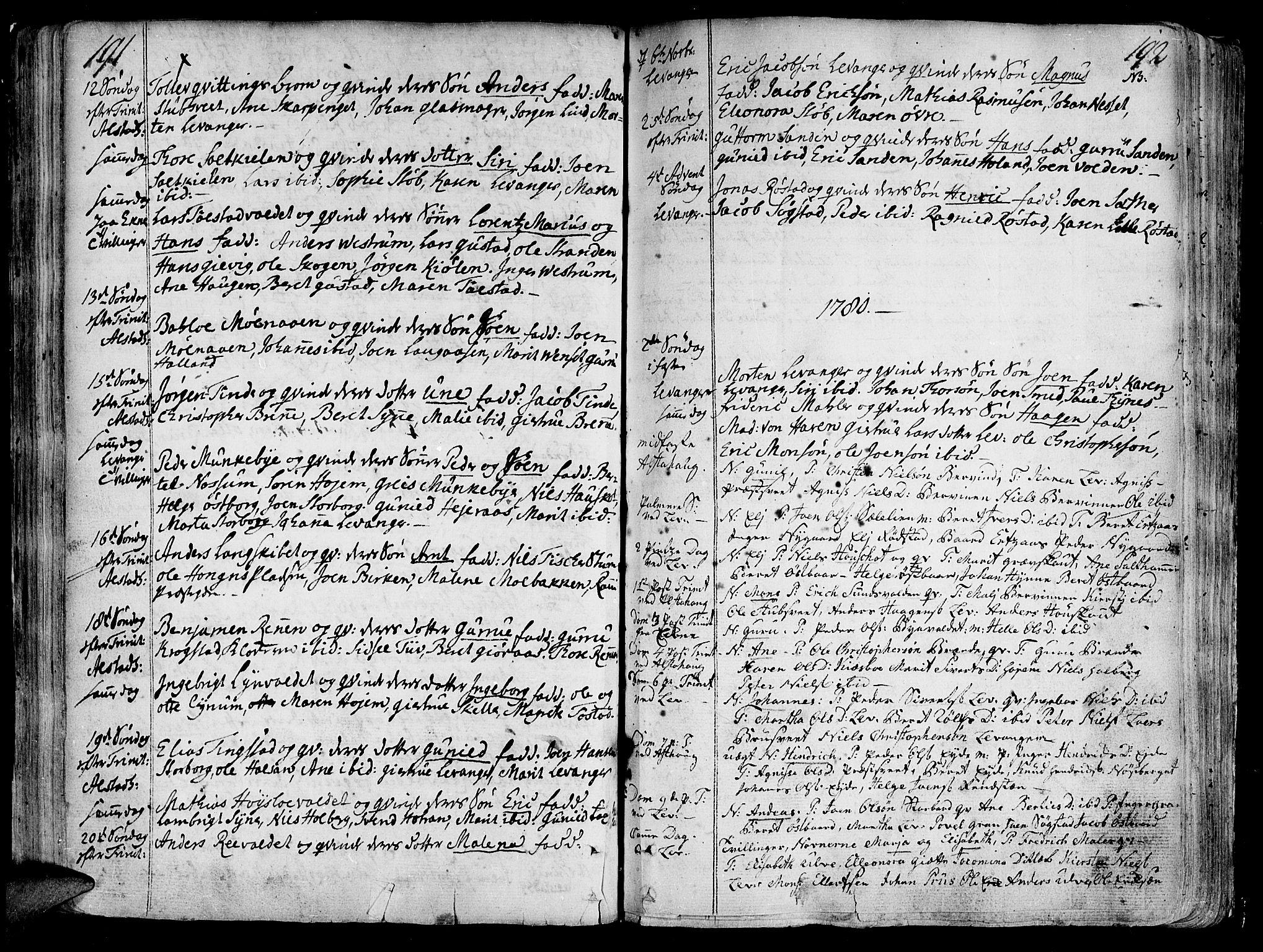 SAT, Ministerialprotokoller, klokkerbøker og fødselsregistre - Nord-Trøndelag, 717/L0141: Ministerialbok nr. 717A01, 1747-1803, s. 191-192