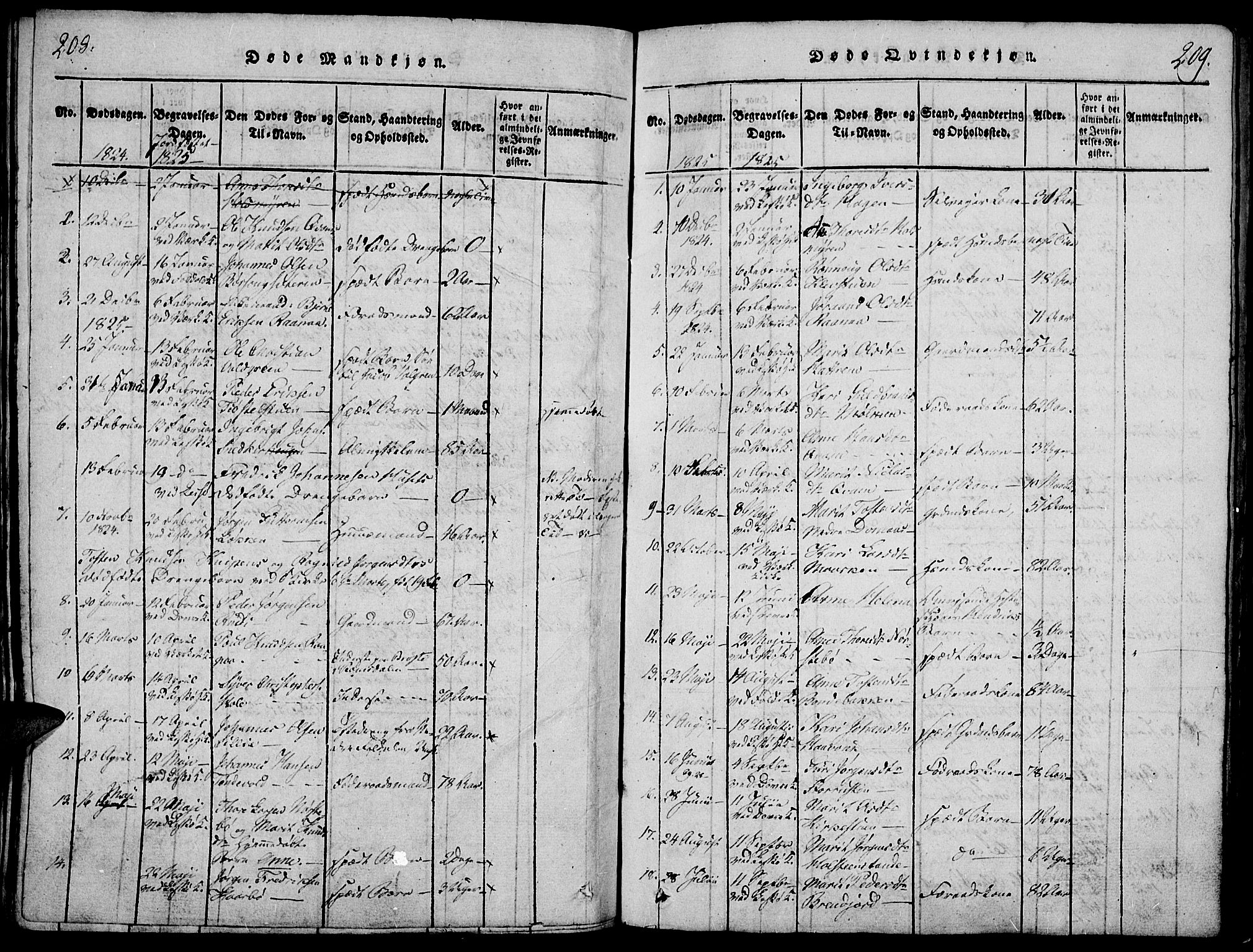 SAH, Lesja prestekontor, Ministerialbok nr. 4, 1820-1829, s. 208-209