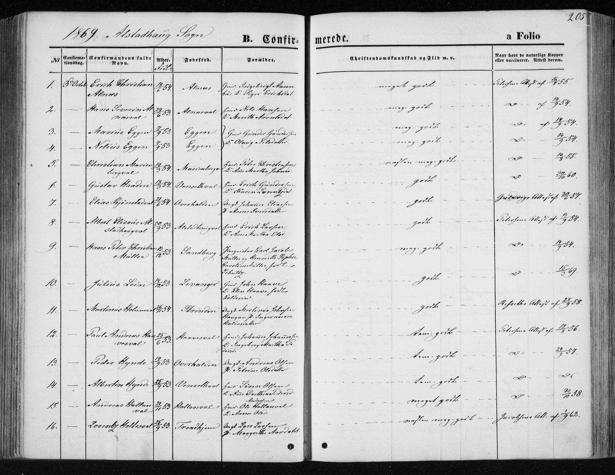 SAT, Ministerialprotokoller, klokkerbøker og fødselsregistre - Nord-Trøndelag, 717/L0157: Ministerialbok nr. 717A08 /1, 1863-1877, s. 205