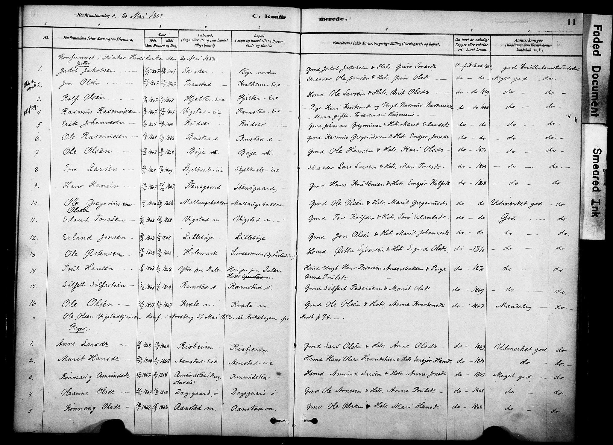 SAH, Skjåk prestekontor, Ministerialbok nr. 2, 1878-1907, s. 11