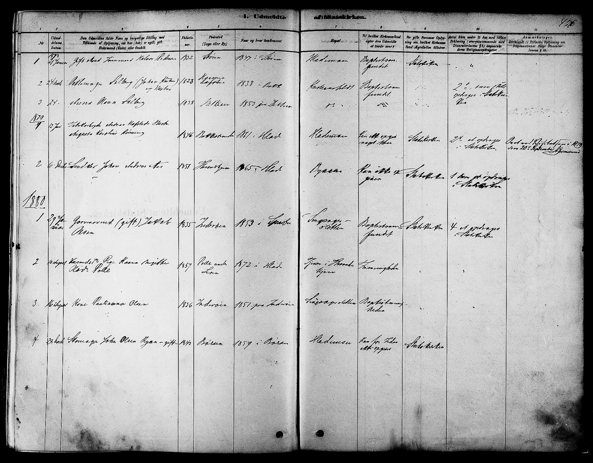 SAT, Ministerialprotokoller, klokkerbøker og fødselsregistre - Sør-Trøndelag, 606/L0294: Ministerialbok nr. 606A09, 1878-1886, s. 466
