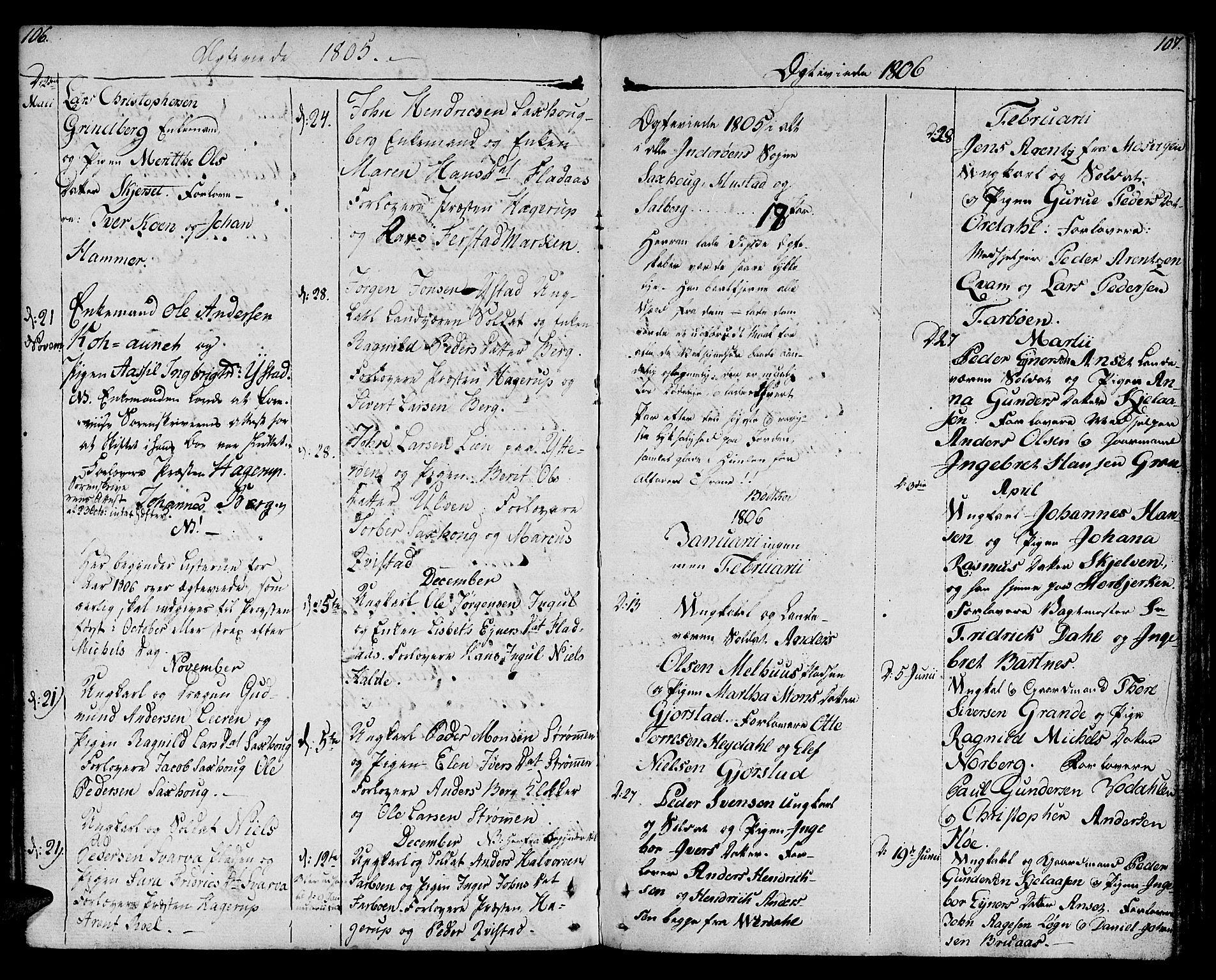 SAT, Ministerialprotokoller, klokkerbøker og fødselsregistre - Nord-Trøndelag, 730/L0274: Ministerialbok nr. 730A03, 1802-1816, s. 106-107