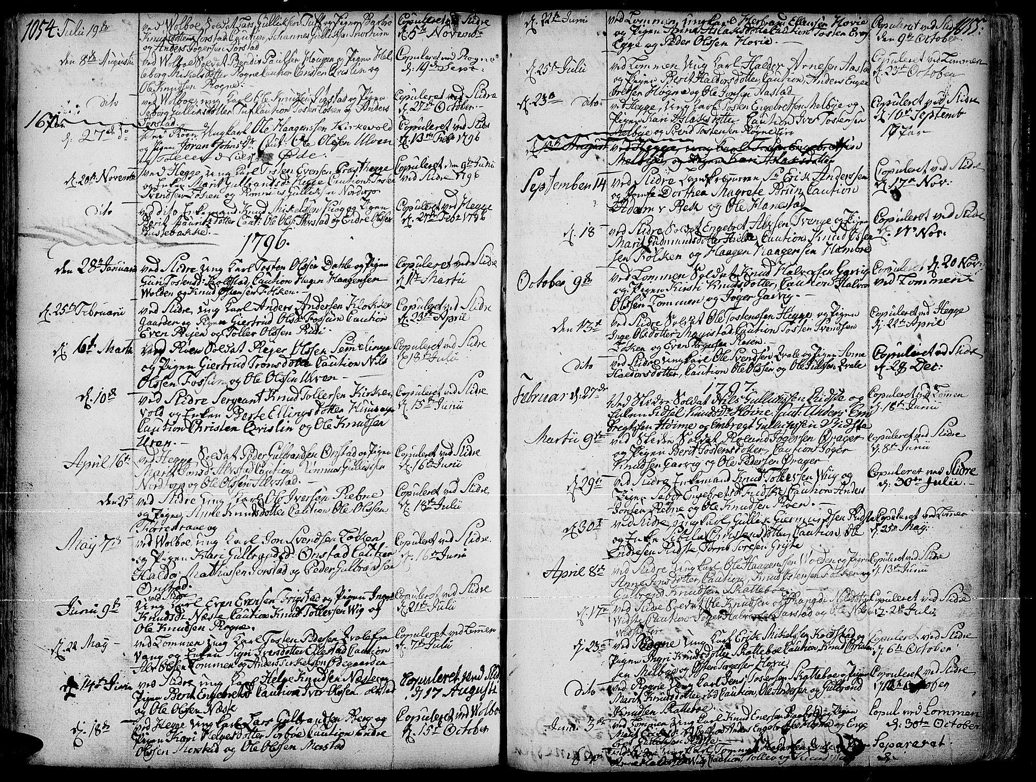 SAH, Slidre prestekontor, Ministerialbok nr. 1, 1724-1814, s. 1054-1055