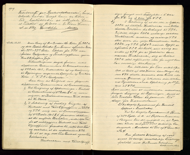 SAST, PA 1533 - A/S Vestlandske Petroleumscompani, A/Aa/L0001: Generalforsamlinger og styreprotokoller, 1907-1915, s. 25