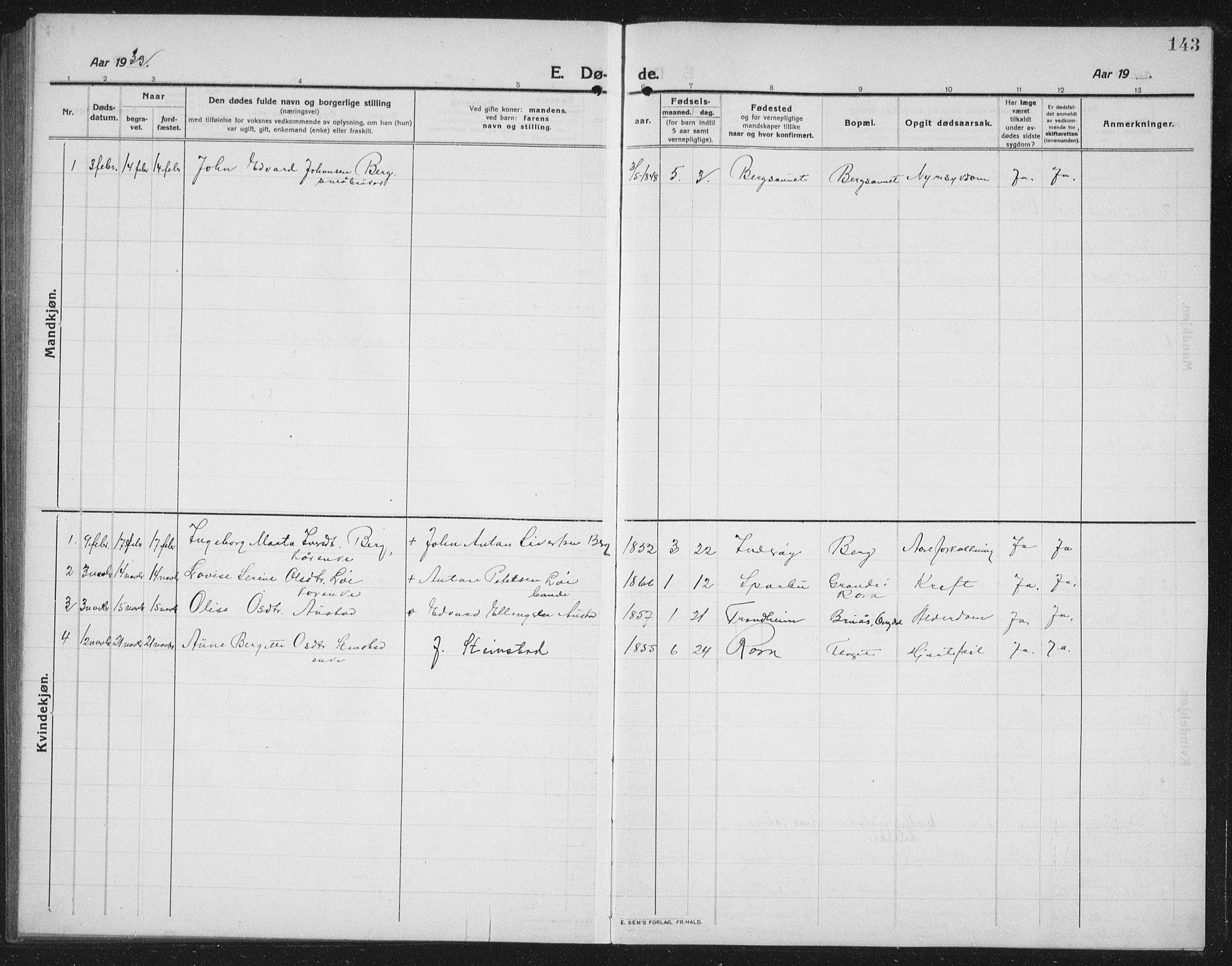 SAT, Ministerialprotokoller, klokkerbøker og fødselsregistre - Nord-Trøndelag, 731/L0312: Klokkerbok nr. 731C03, 1911-1935, s. 143
