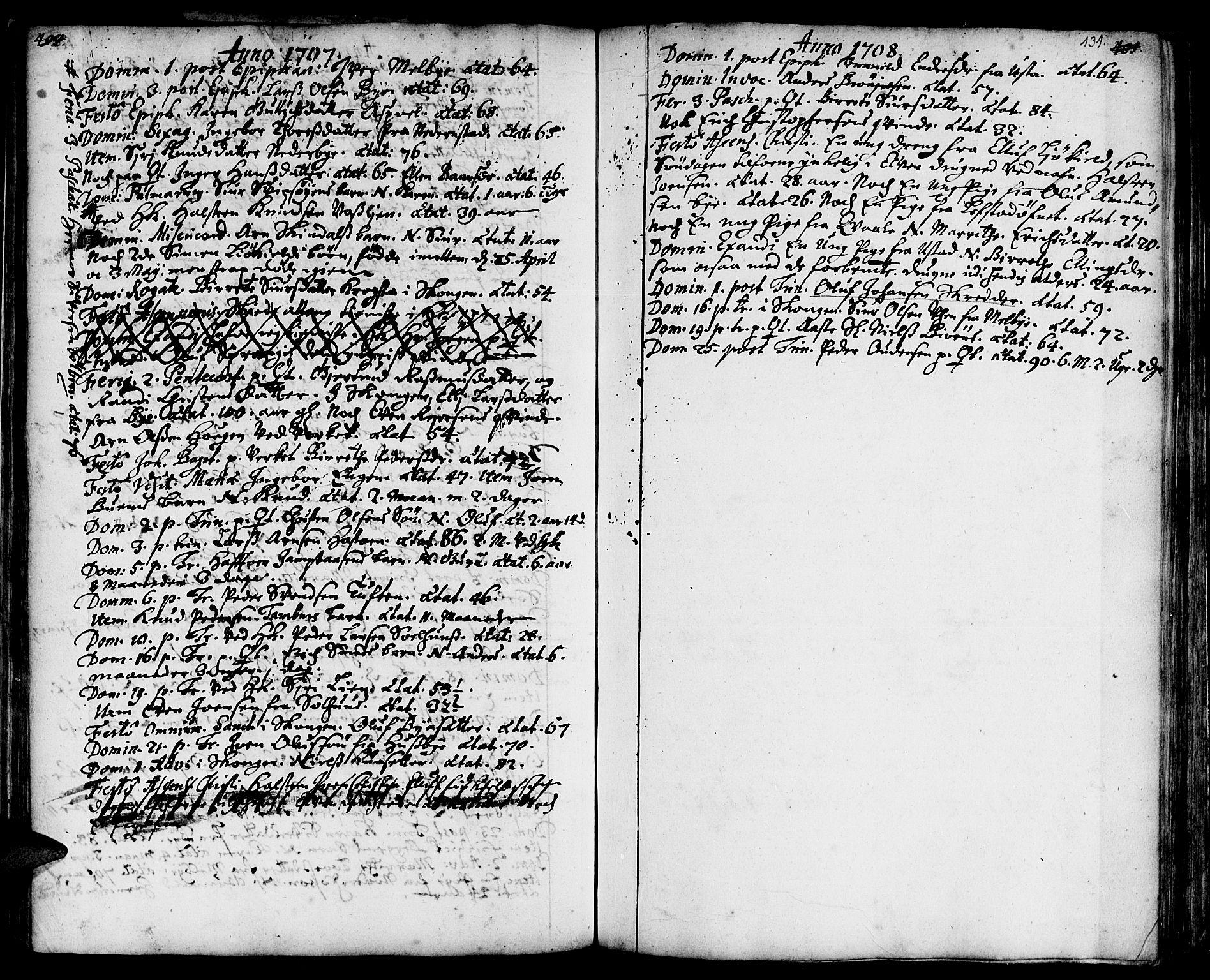 SAT, Ministerialprotokoller, klokkerbøker og fødselsregistre - Sør-Trøndelag, 668/L0801: Ministerialbok nr. 668A01, 1695-1716, s. 130-131
