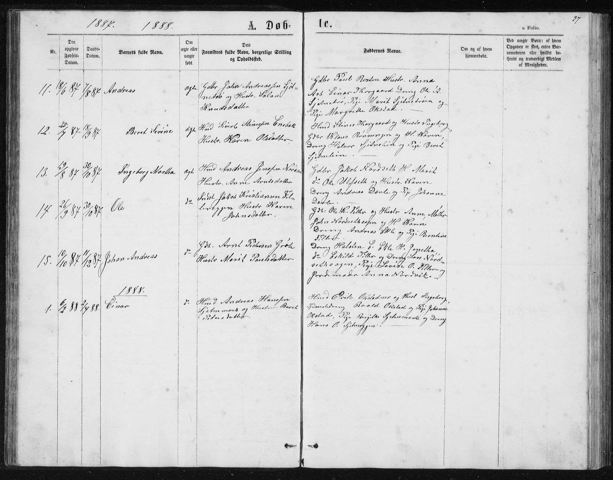 SAT, Ministerialprotokoller, klokkerbøker og fødselsregistre - Sør-Trøndelag, 621/L0459: Klokkerbok nr. 621C02, 1866-1895, s. 37