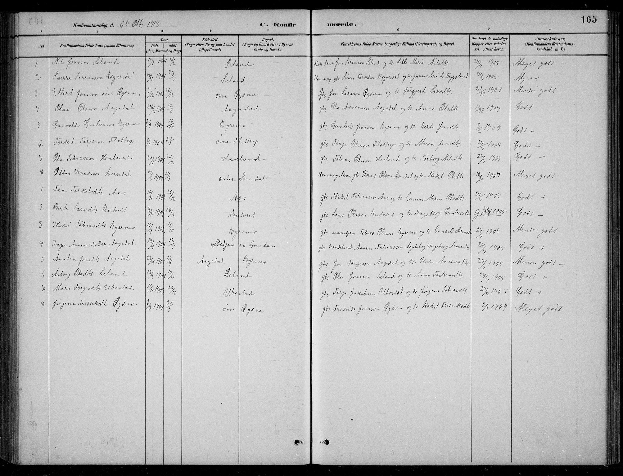SAK, Bjelland sokneprestkontor, F/Fb/Fbc/L0003: Klokkerbok nr. B 3, 1887-1924, s. 165