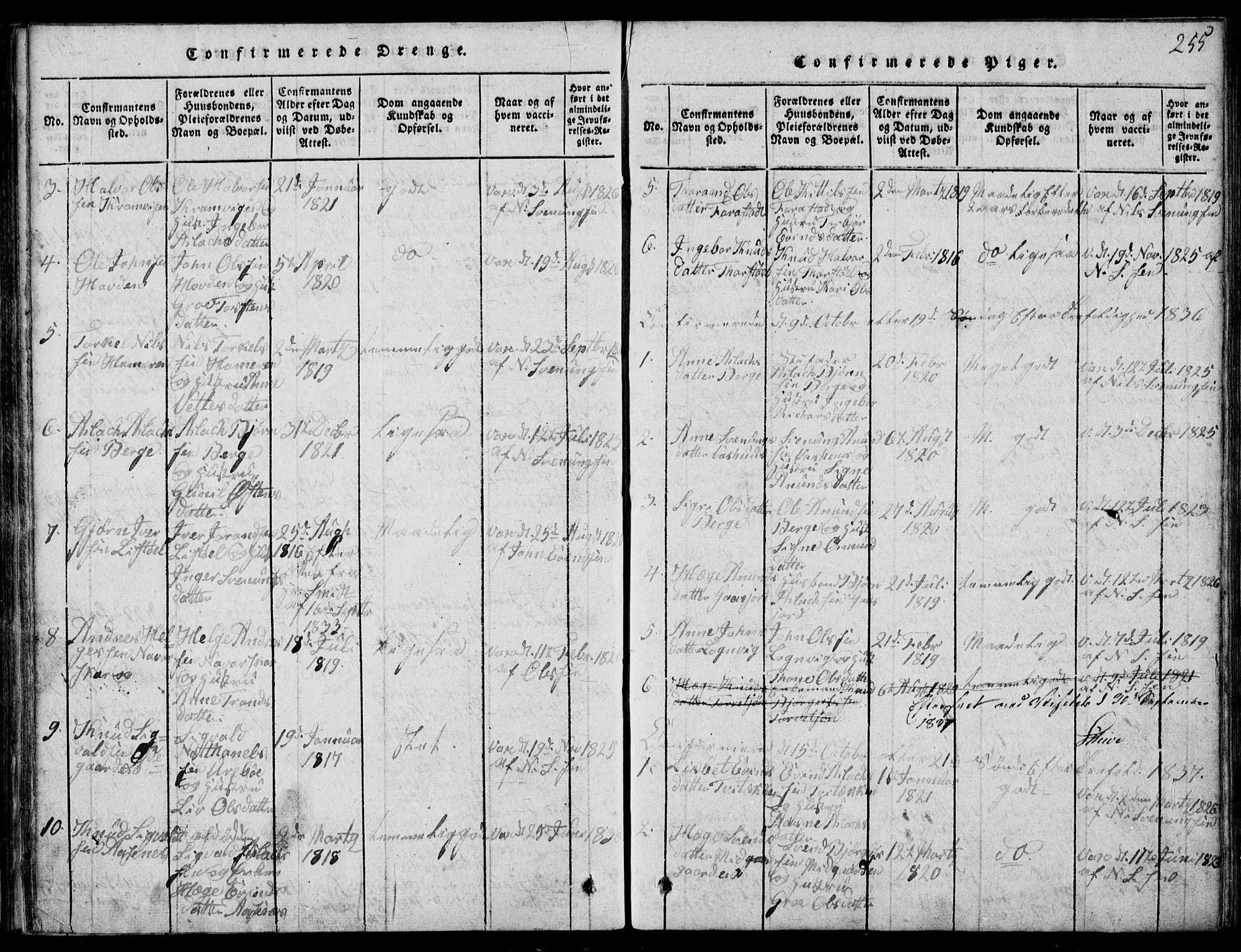 SAKO, Rauland kirkebøker, G/Ga/L0001: Klokkerbok nr. I 1, 1814-1843, s. 255