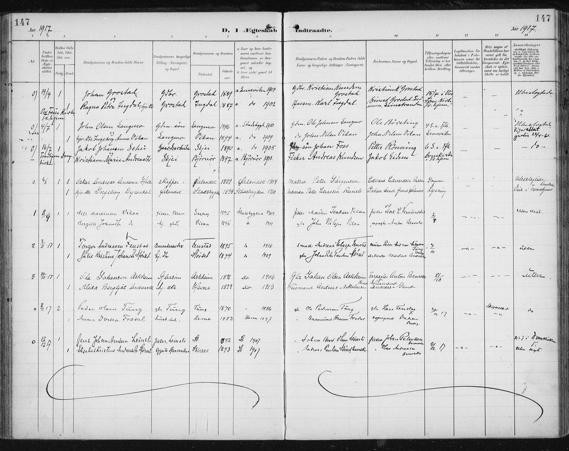 SAT, Ministerialprotokoller, klokkerbøker og fødselsregistre - Sør-Trøndelag, 646/L0616: Ministerialbok nr. 646A14, 1900-1918, s. 147